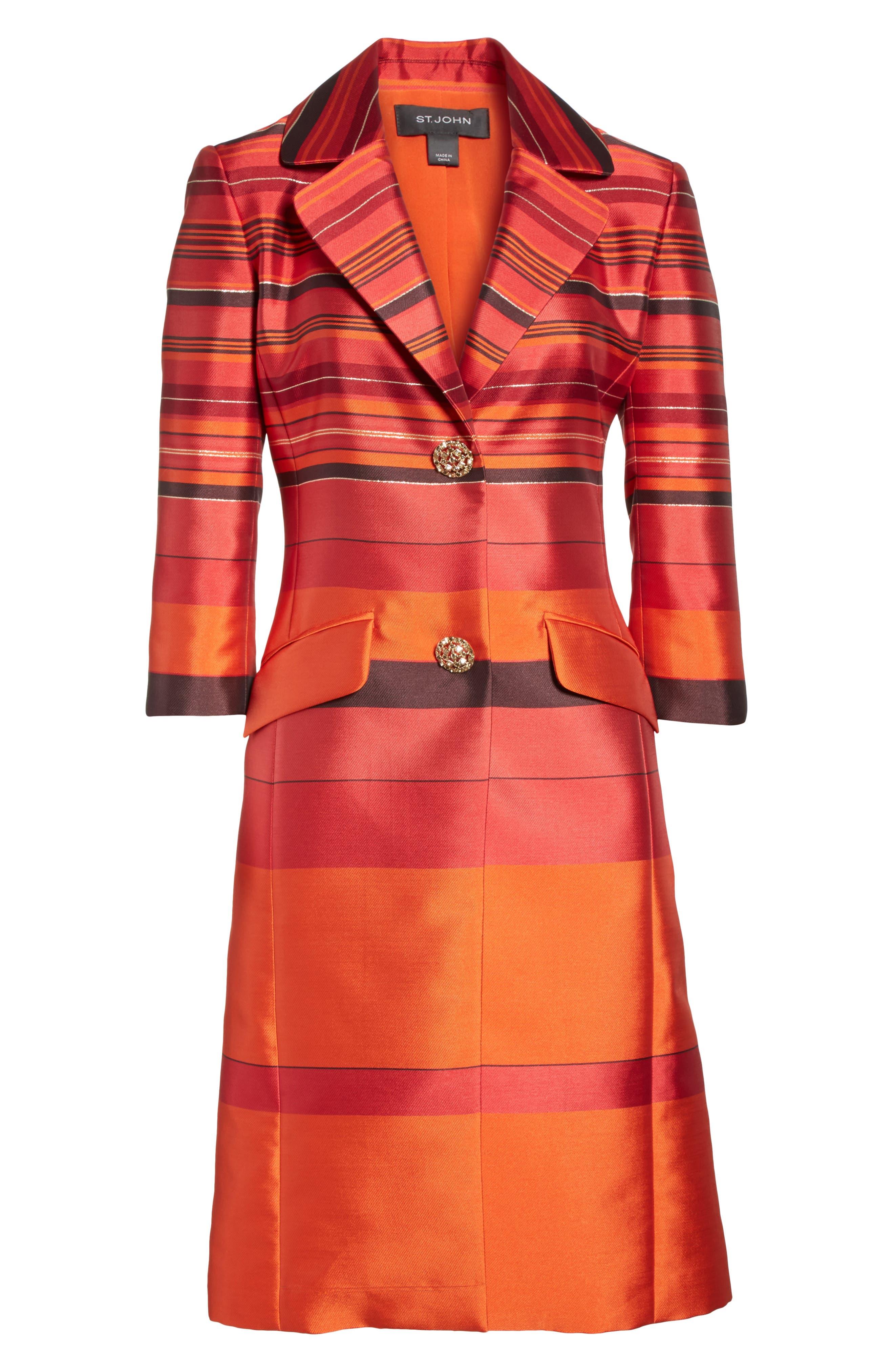 Metallic Stripe Jacquard Jacket,                             Alternate thumbnail 6, color,                             SIENNA MULTI