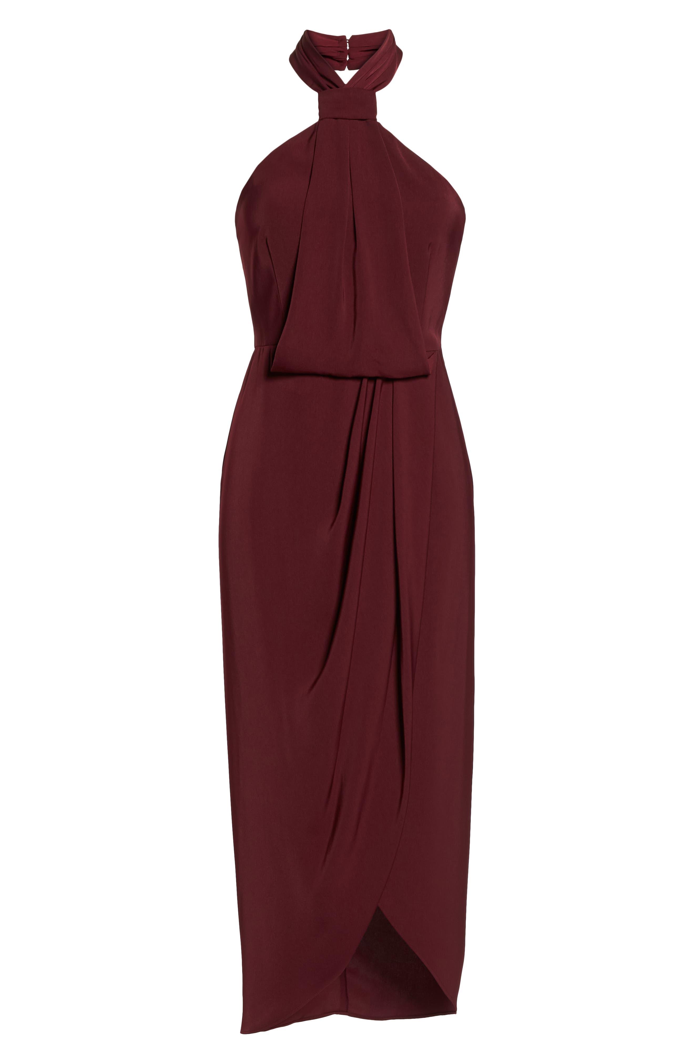 SHONA JOY,                             Knotted Tulip Hem Midi Dress,                             Alternate thumbnail 7, color,                             BURGUNDY