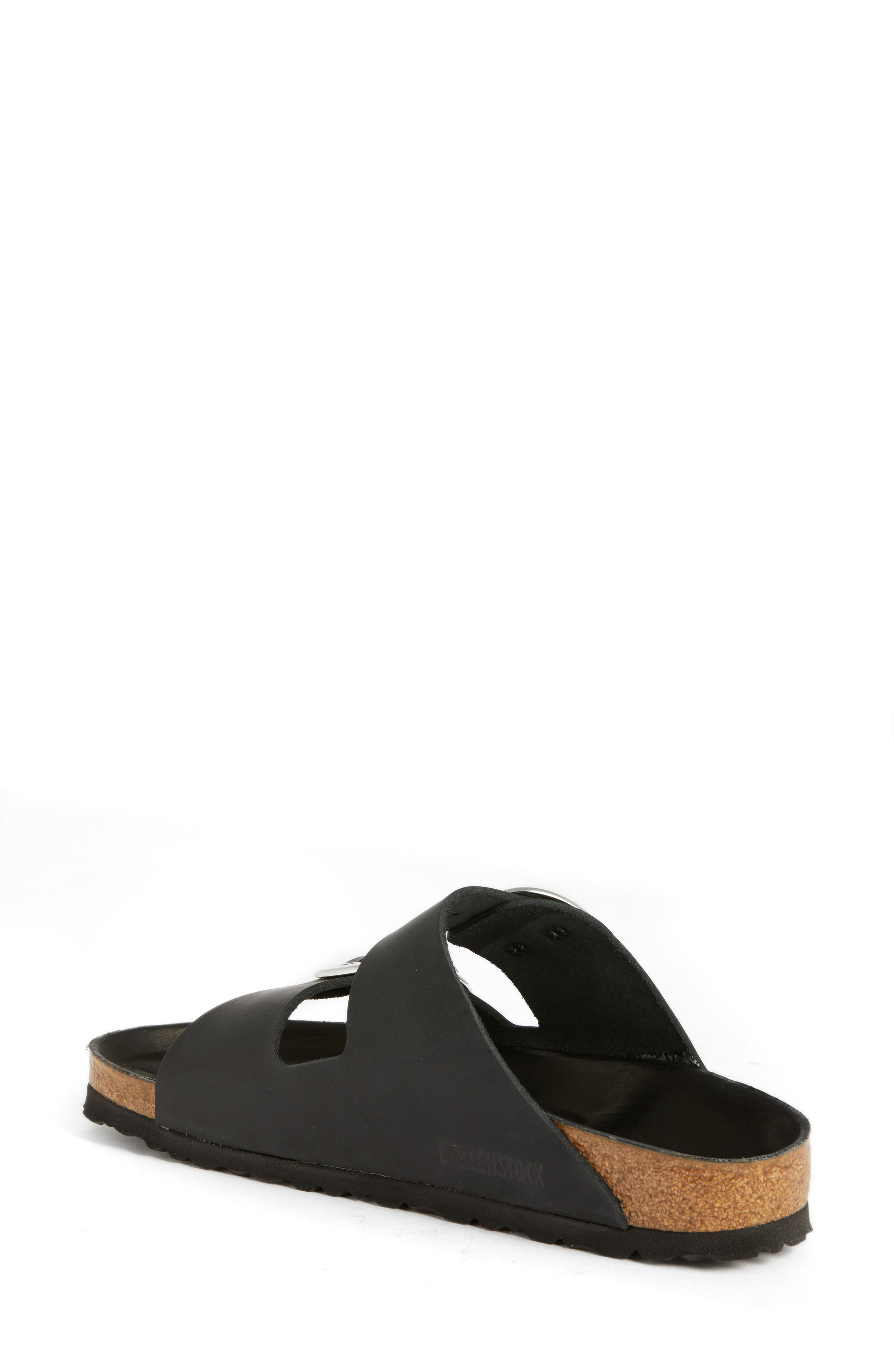 Arizona Big Buckle Slide Sandal,                             Alternate thumbnail 2, color,                             BLACK LEATHER