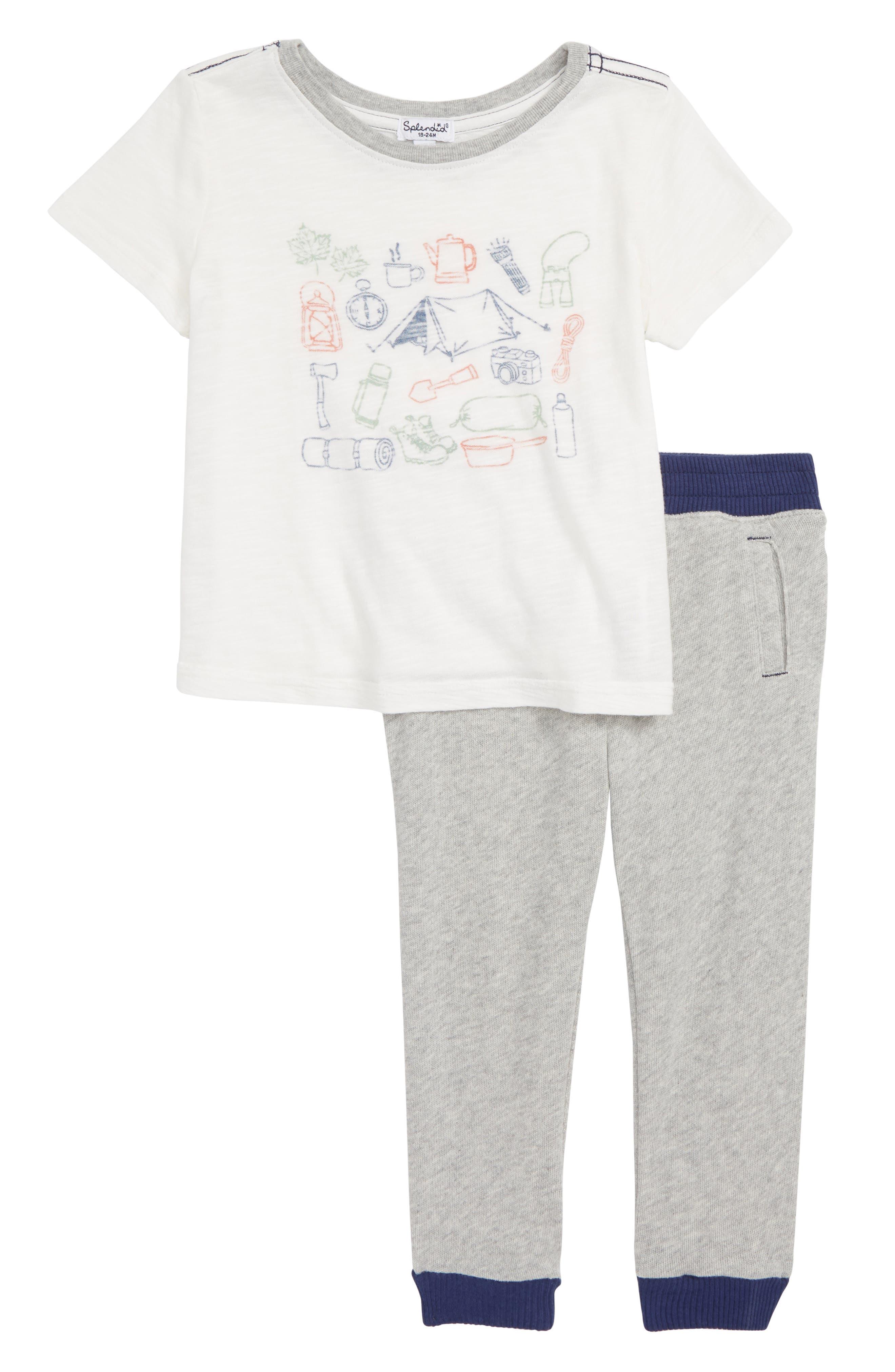 Camping Graphic T-Shirt & Pants Set,                             Main thumbnail 1, color,                             FULL SAIL