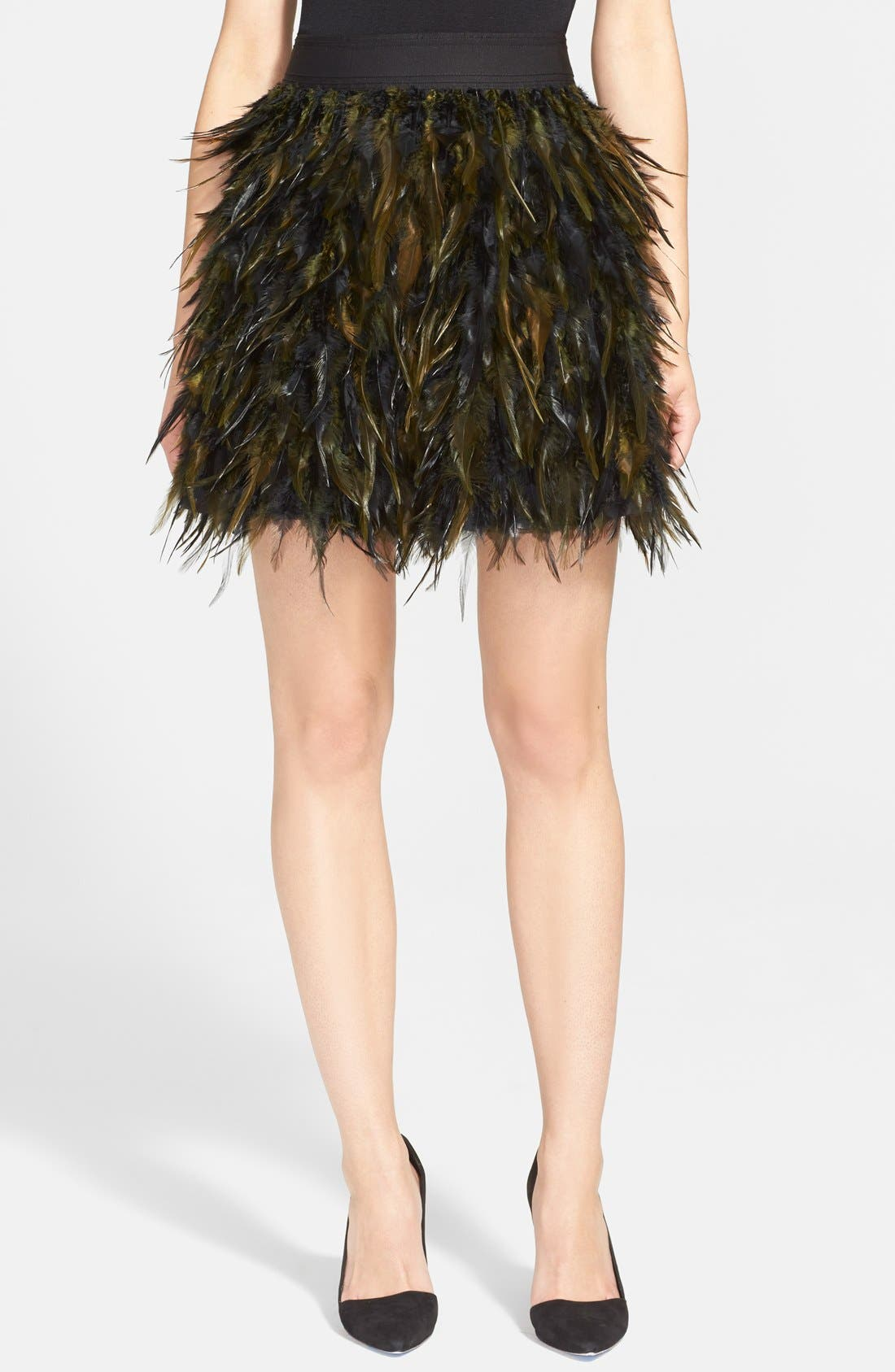 ALICE + OLIVIA,                             'Cina' Feather Skirt,                             Main thumbnail 1, color,                             015