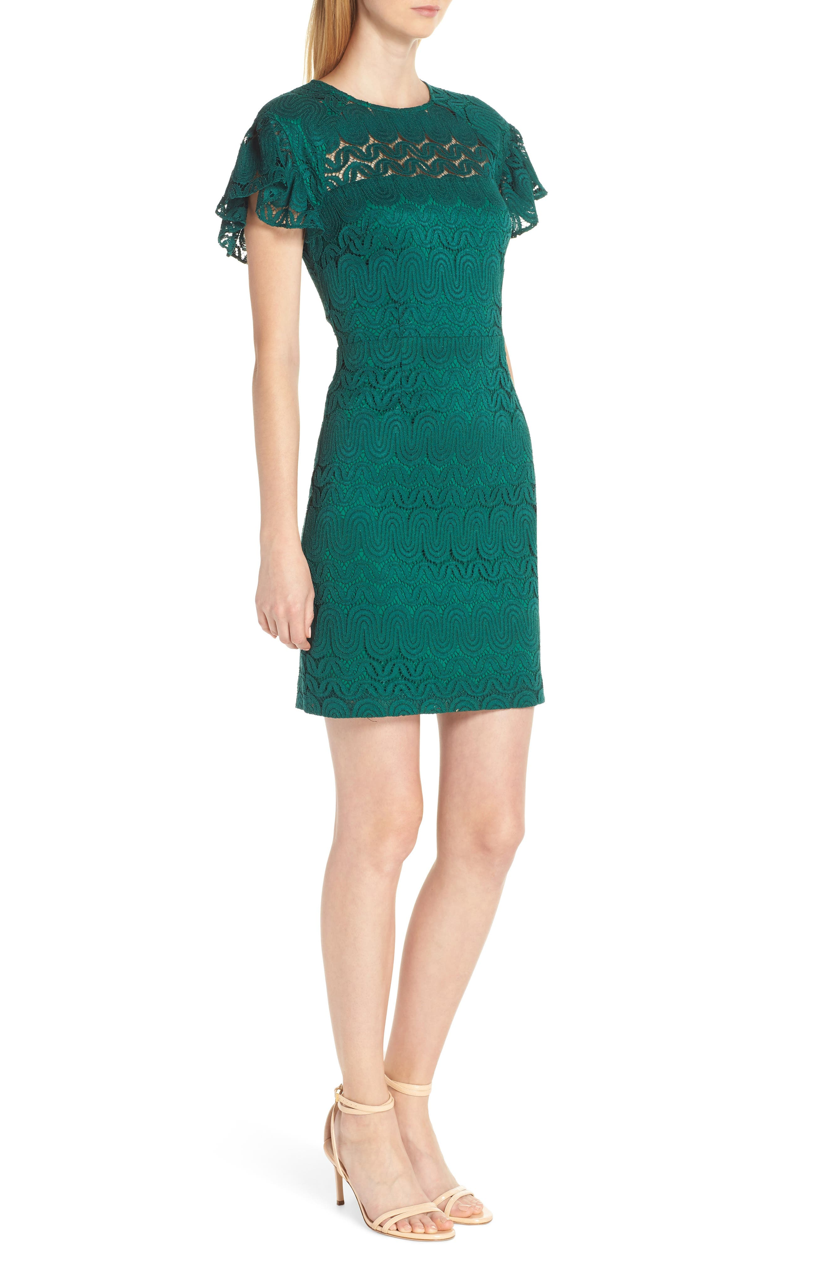 Mai Tai Lace Dress,                             Alternate thumbnail 3, color,                             EMERALD