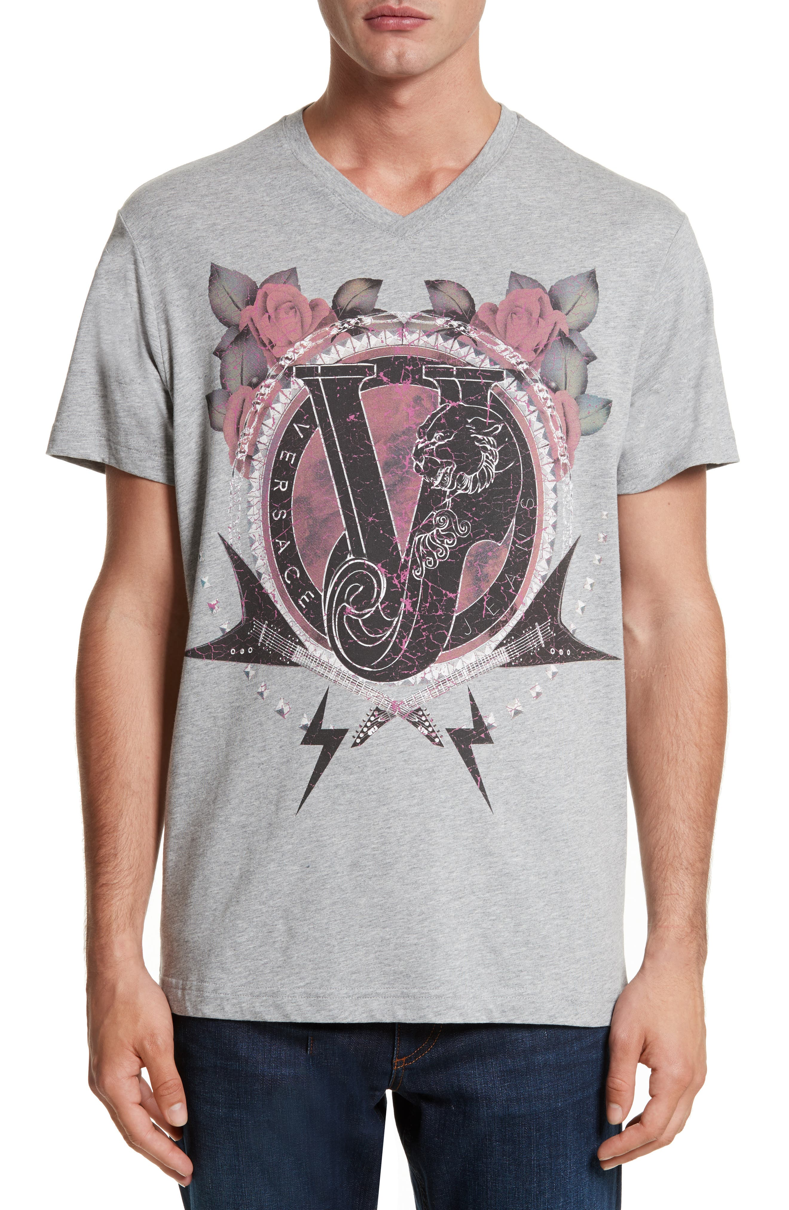 Graphic V-Neck T-Shirt,                             Main thumbnail 1, color,                             020