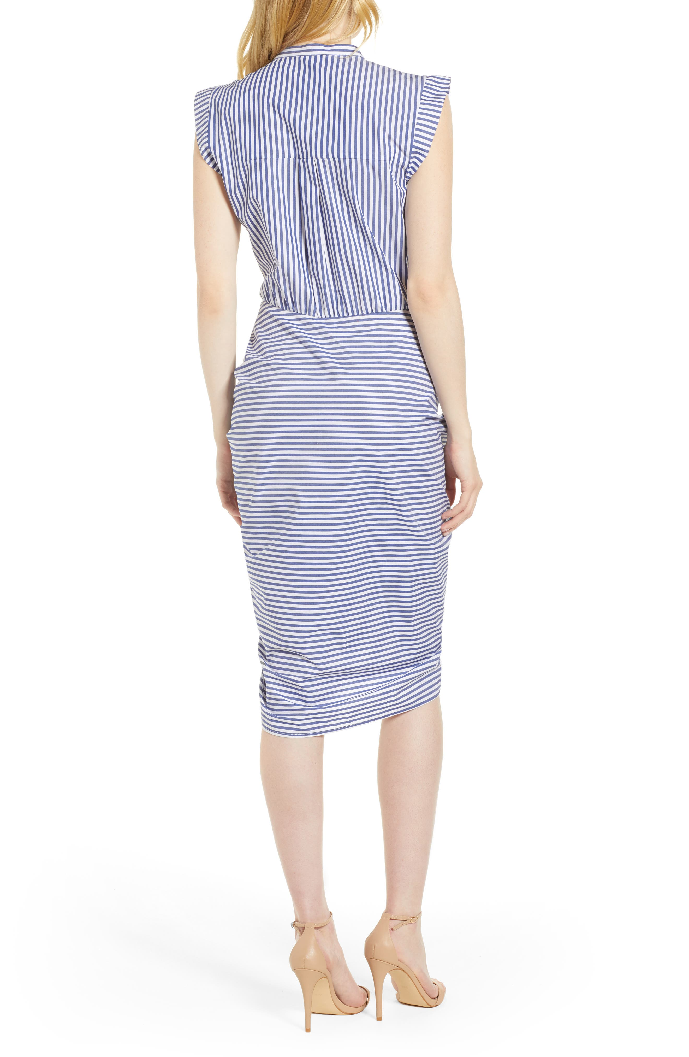 Stripe Ruched Cotton Shirtdress,                             Alternate thumbnail 3, color,                             400