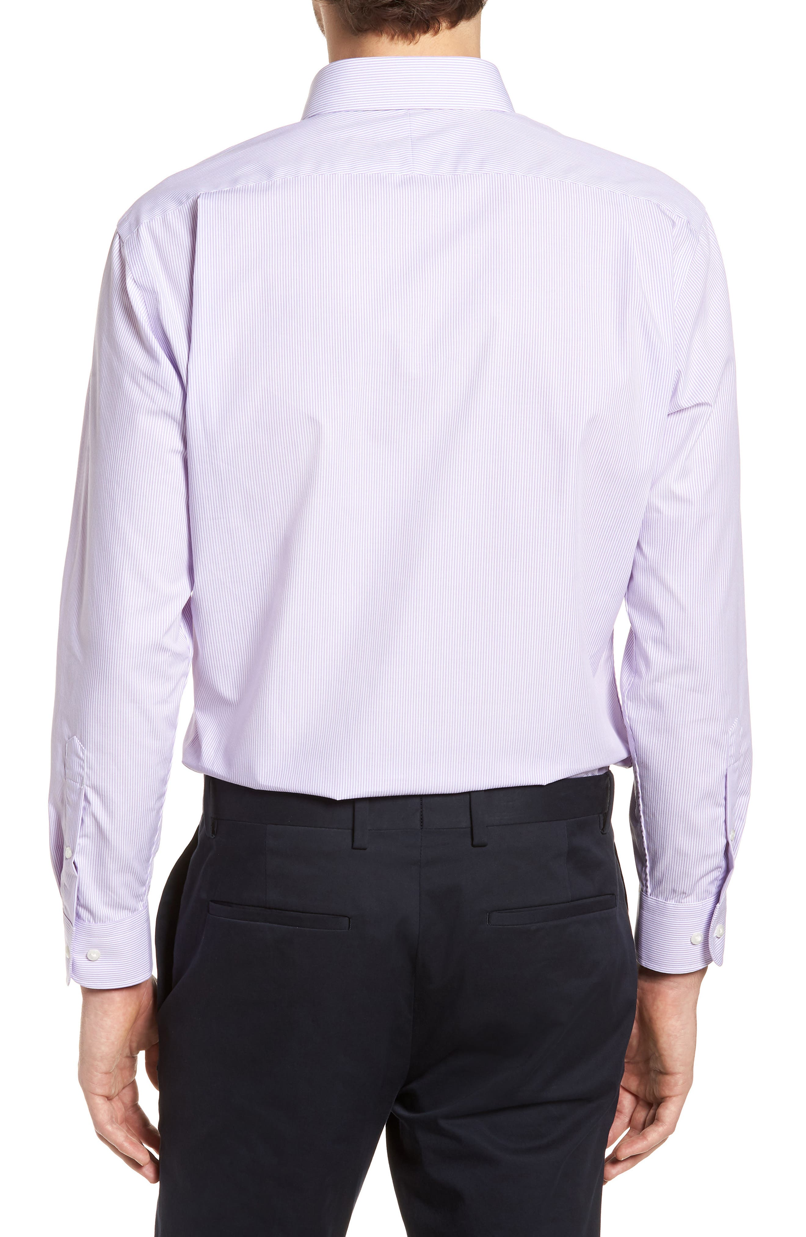 Trim Fit Non-Iron Stripe Dress Shirt,                             Alternate thumbnail 16, color,