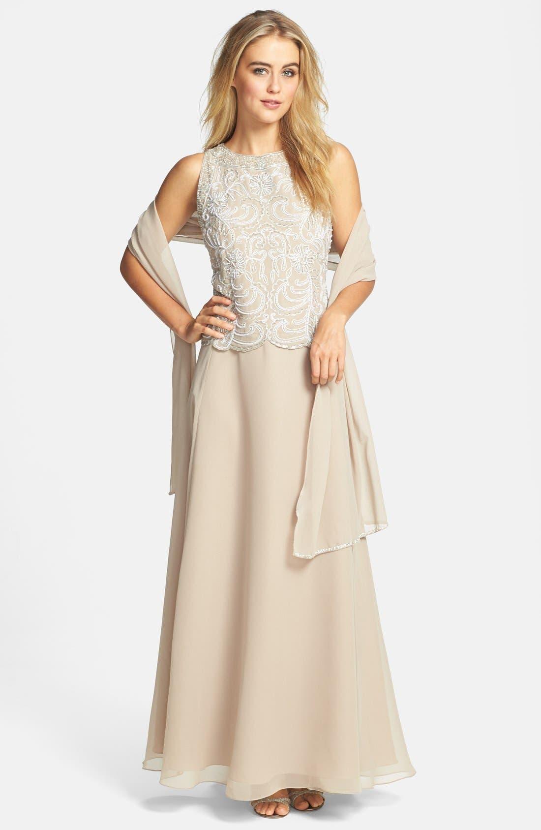 J KARA,                             Embellished Chiffon A-Line Gown with Shawl,                             Main thumbnail 1, color,                             250
