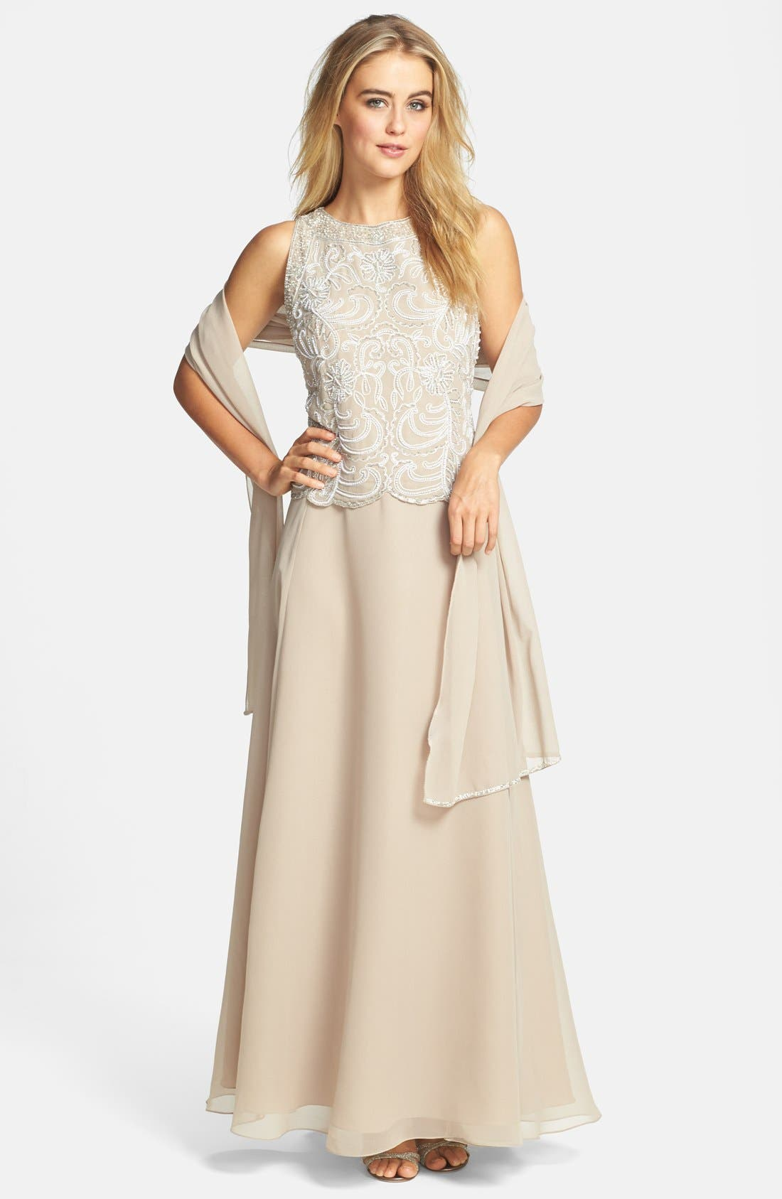 J KARA Embellished Chiffon A-Line Gown with Shawl, Main, color, 250