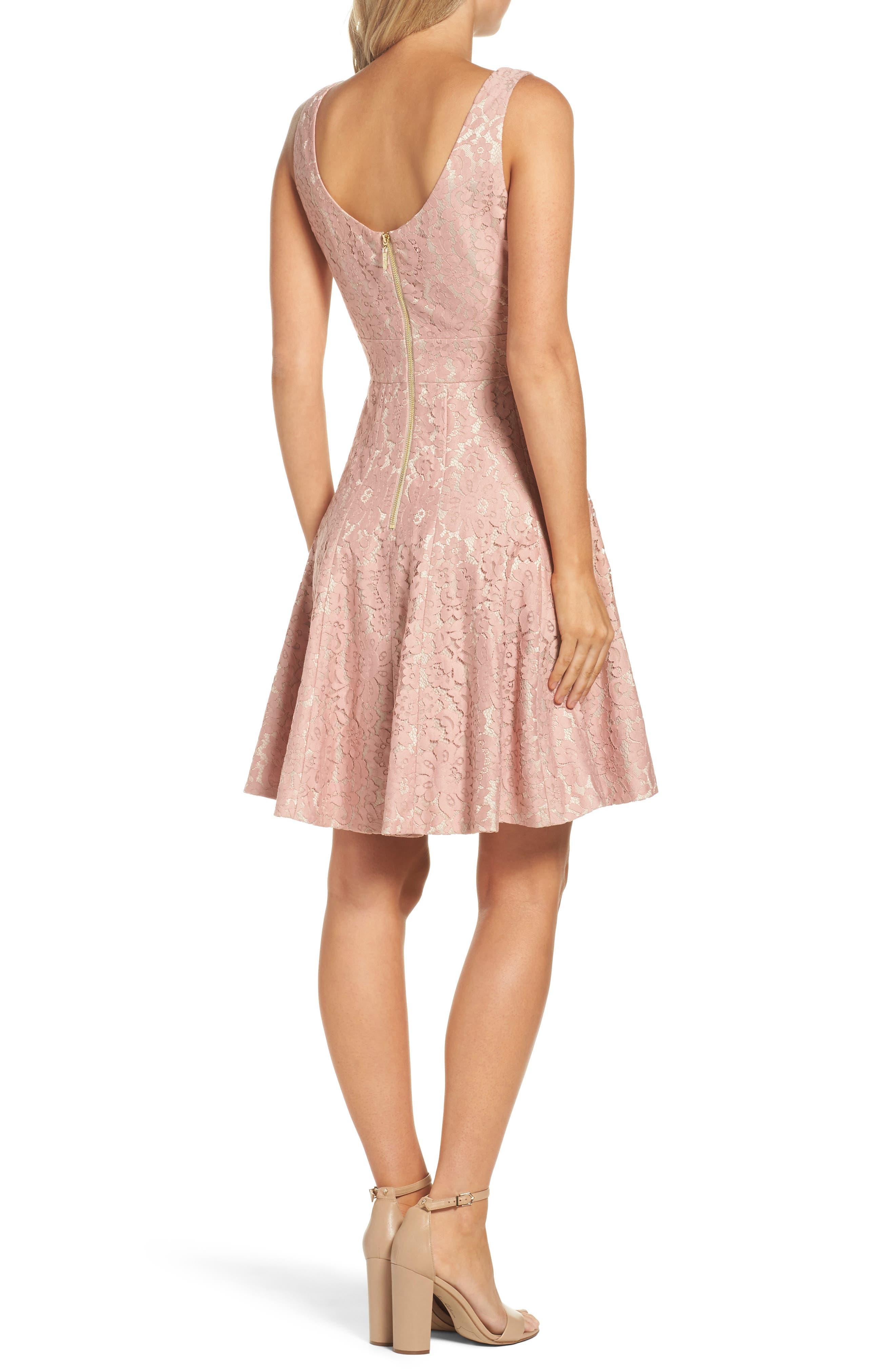 Lace Fit & Flare Dress,                             Alternate thumbnail 2, color,                             660