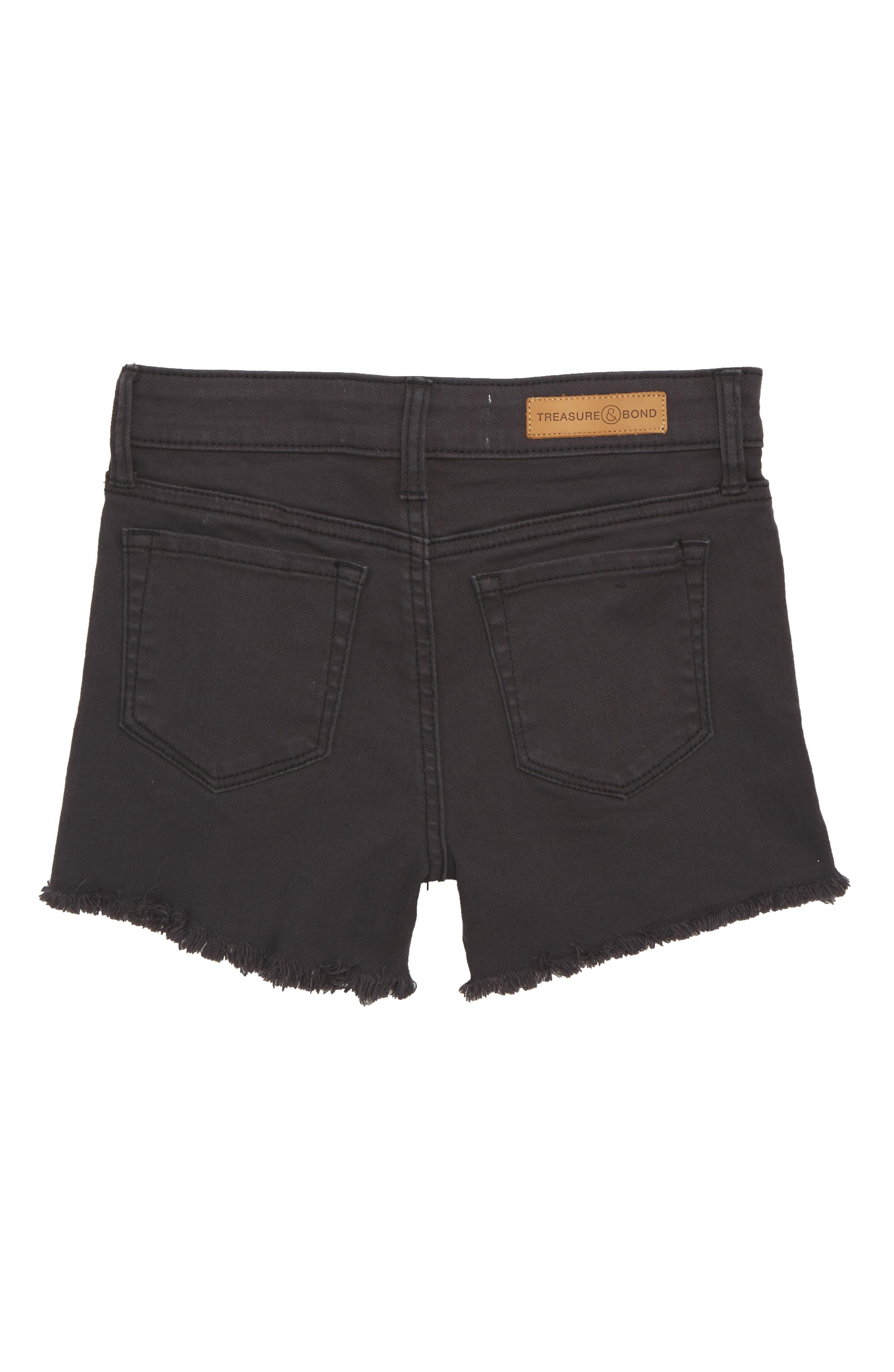 Distressed Cutoff Denim Shorts,                             Alternate thumbnail 2, color,                             BLACK