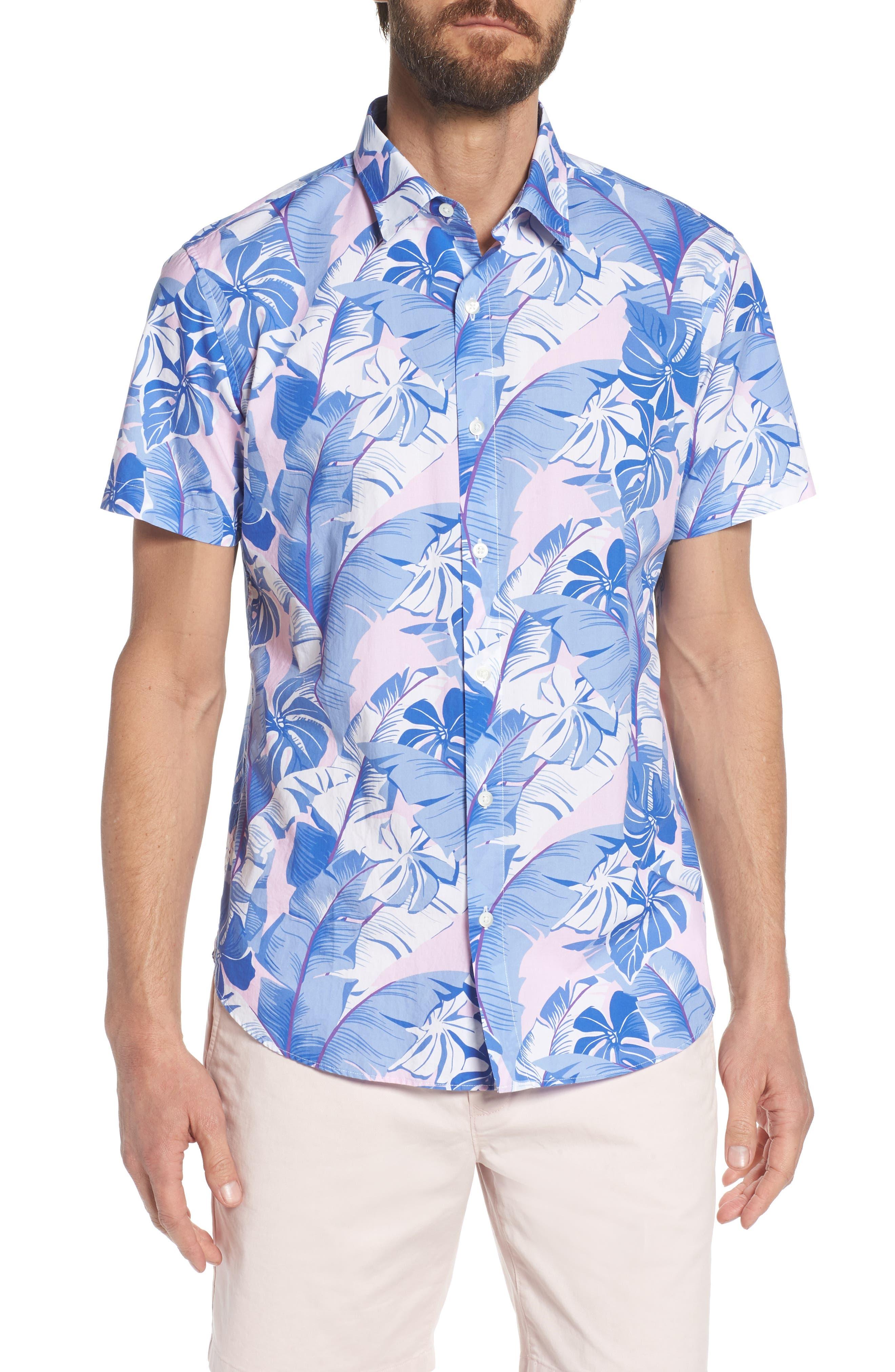Slim Fit Tropical Print Premium Sport Shirt,                         Main,                         color, 400