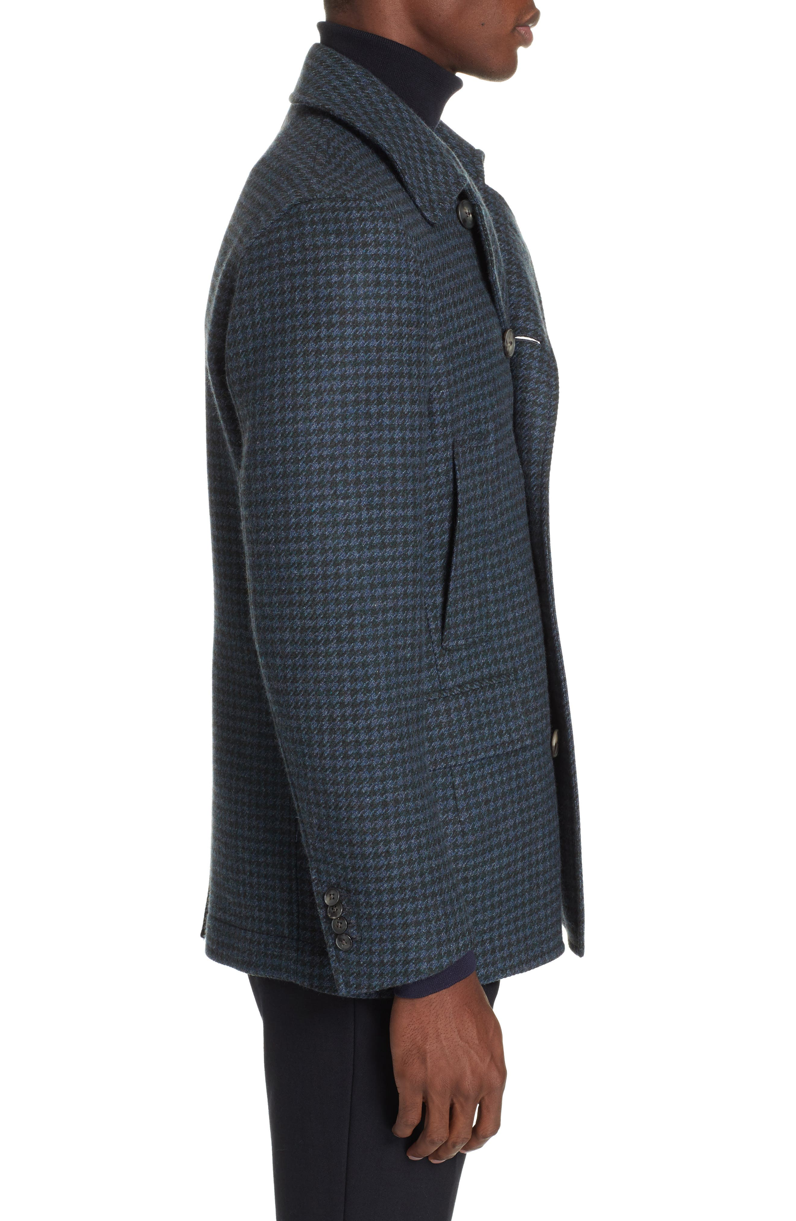 Trim Fit Double Breasted Houndstooth Wool Coat,                             Alternate thumbnail 3, color,                             GREEN/ BLUE