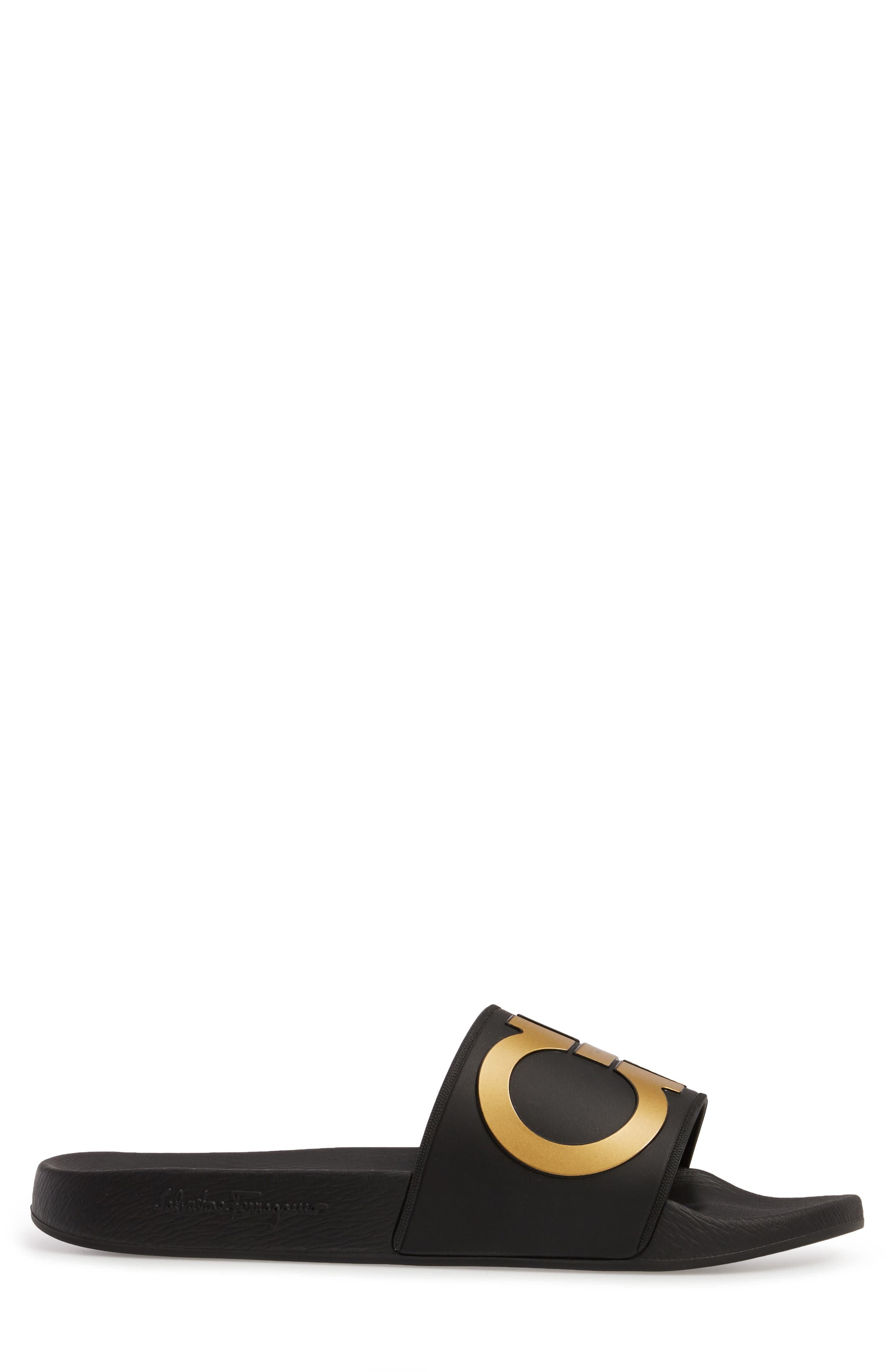 Groove 2 Slide Sandal,                             Alternate thumbnail 3, color,                             BLACK/GOLD