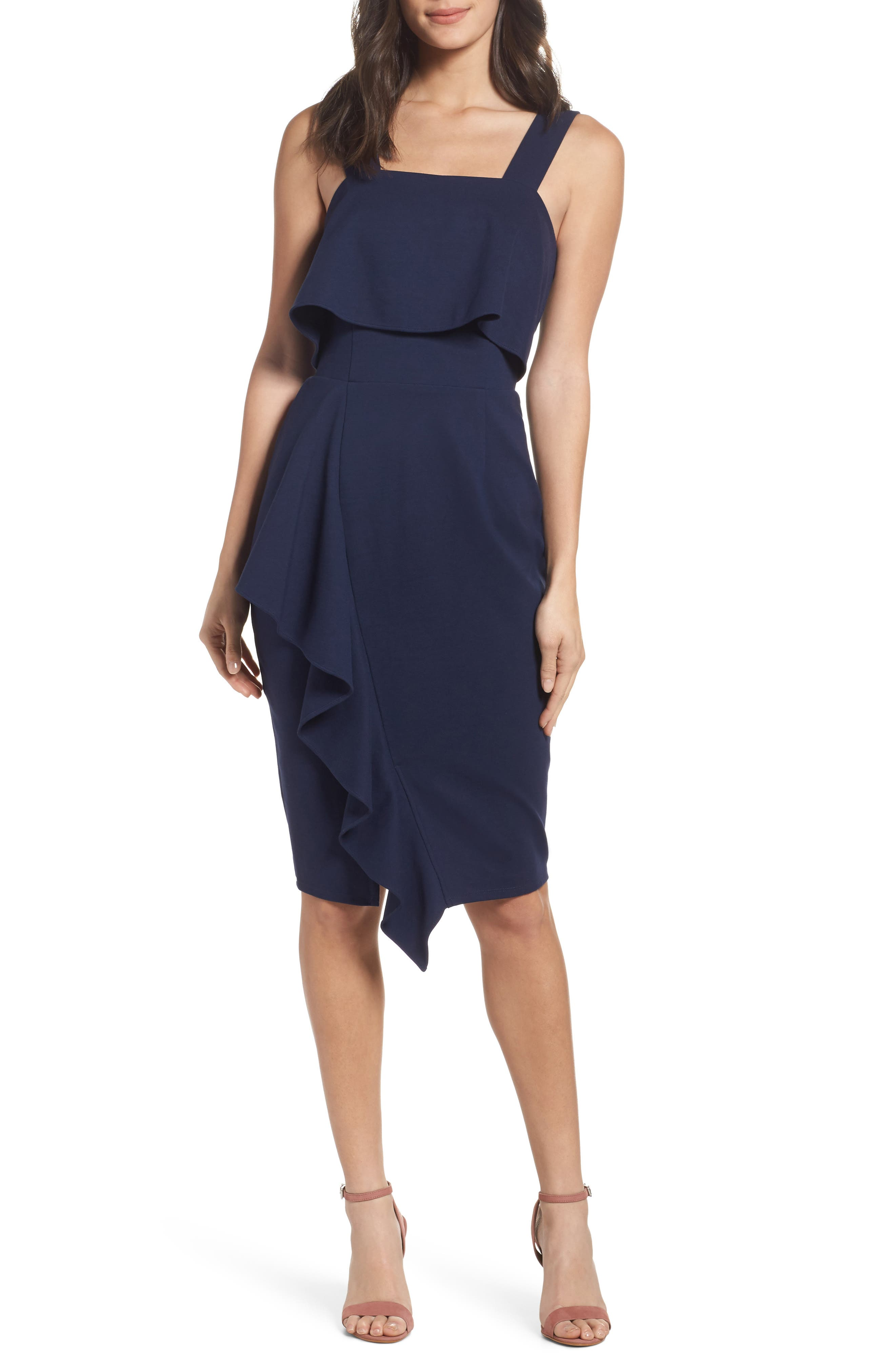 Camilla Ruffle Sheath Dress,                             Main thumbnail 1, color,