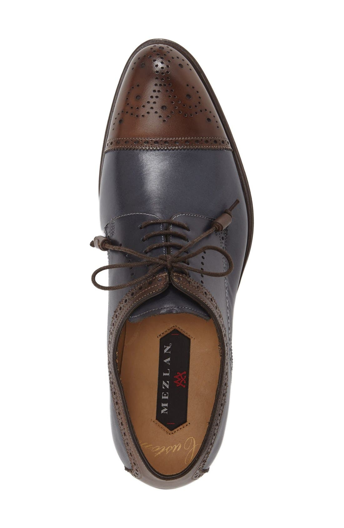 'Carlino' Cap Toe Oxford,                             Alternate thumbnail 4, color,                             BROWN/ BLUE