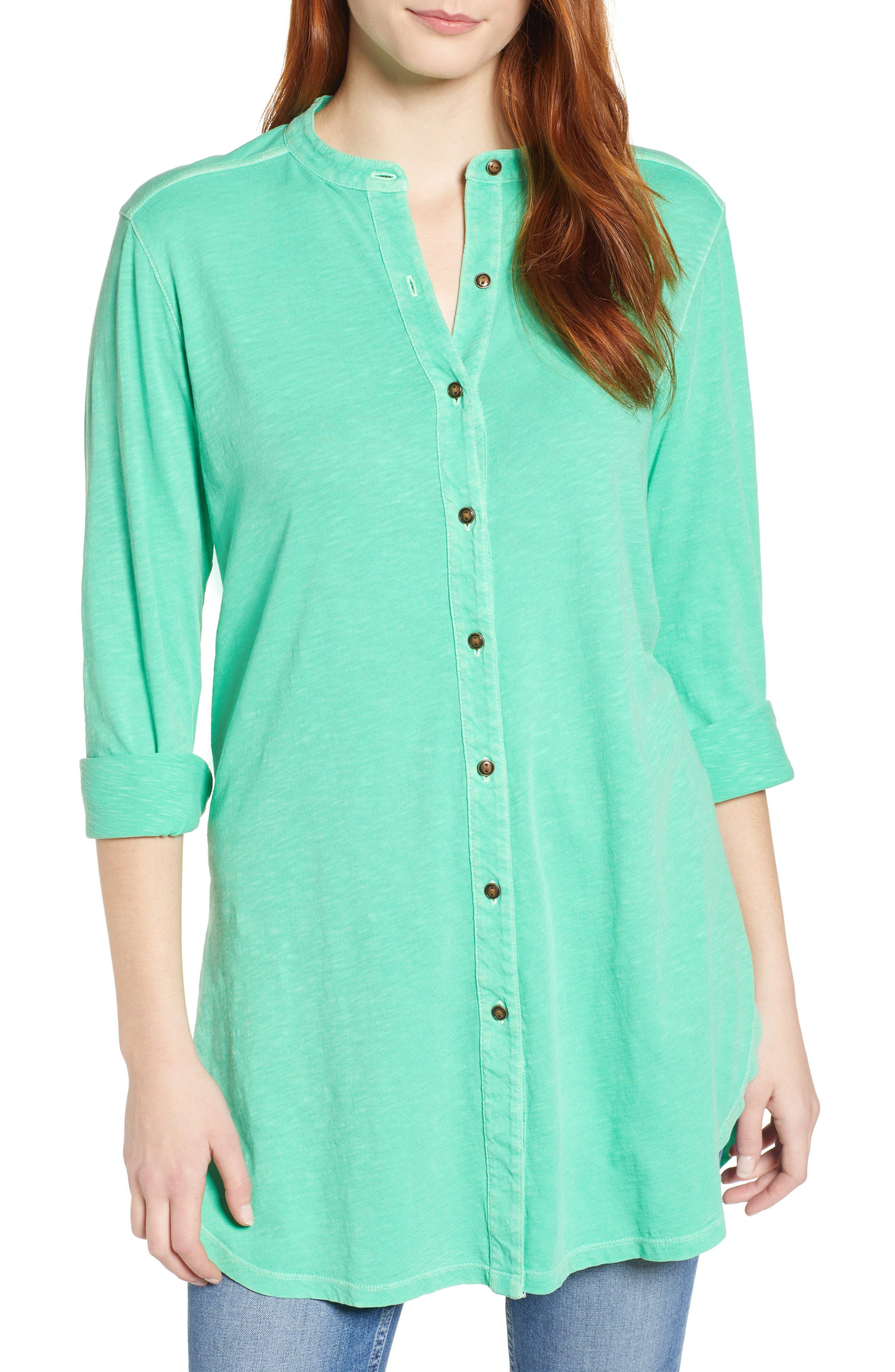 Button Down Knit Tunic, Main, color, GREEN KATYDID