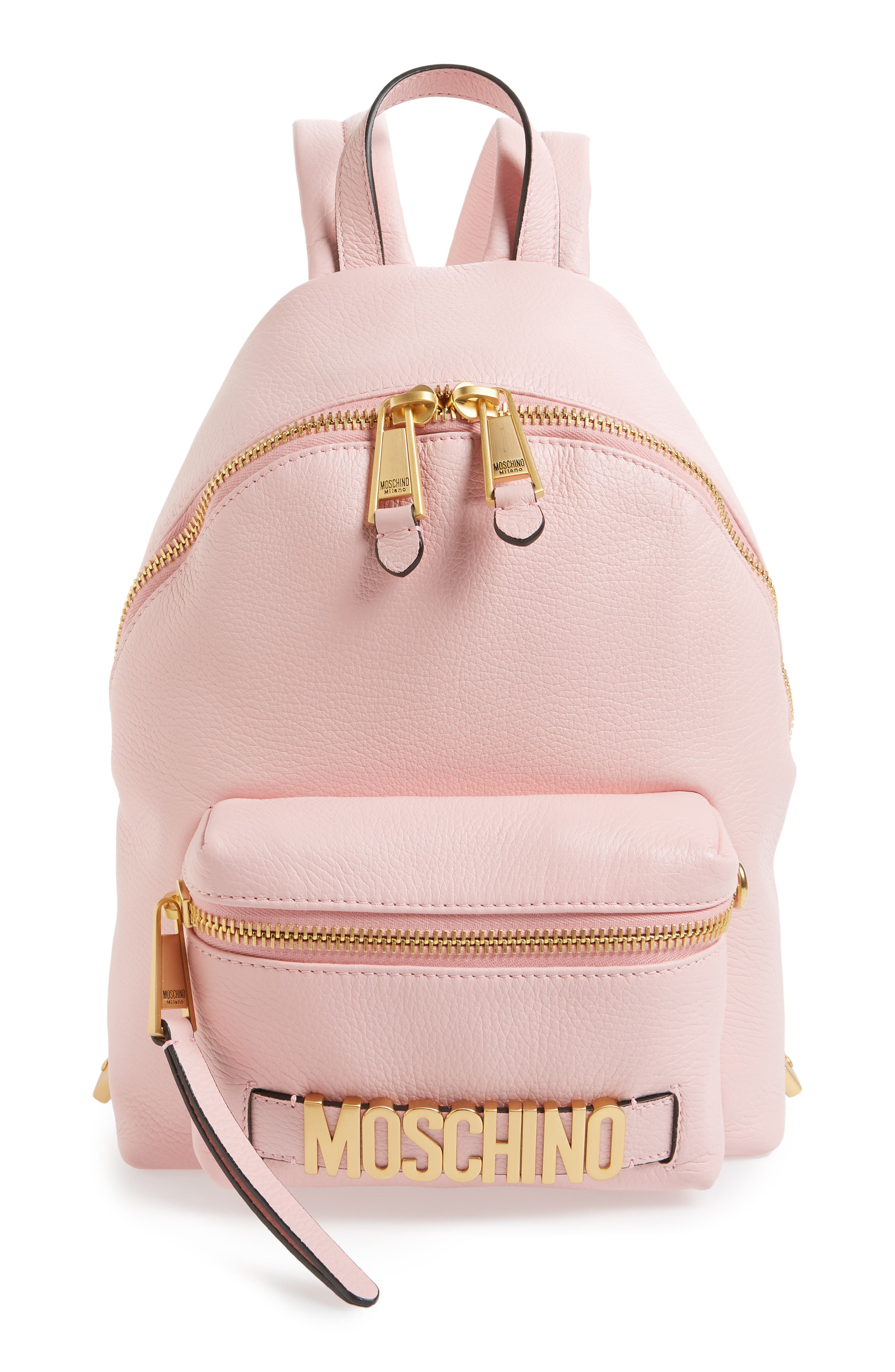 MOSCHINO,                             Logo Leather Backpack,                             Main thumbnail 1, color,                             PINK
