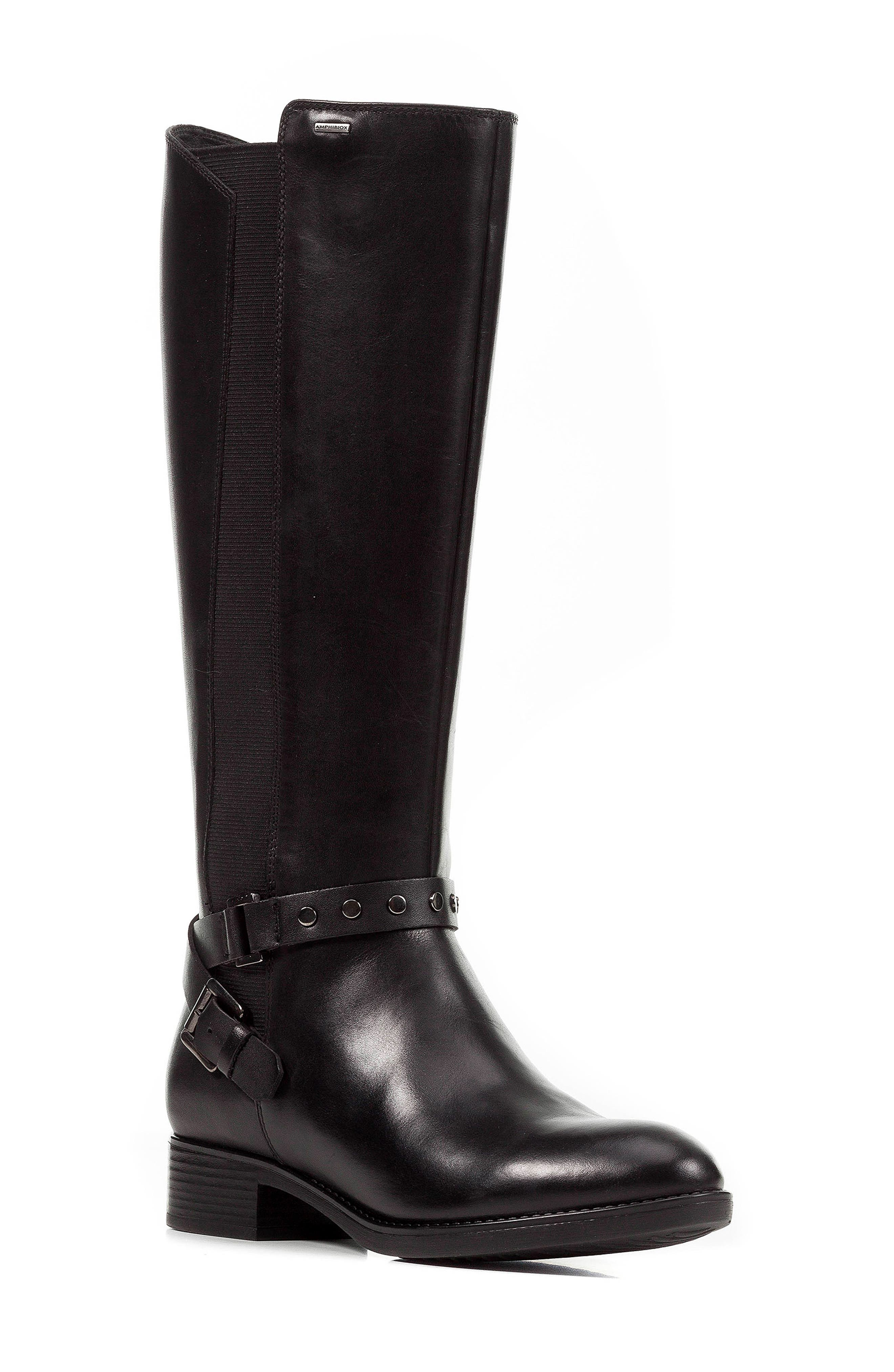 Felicity ABX Waterproof Knee High Riding Boot,                             Main thumbnail 1, color,                             BLACK LEATHER