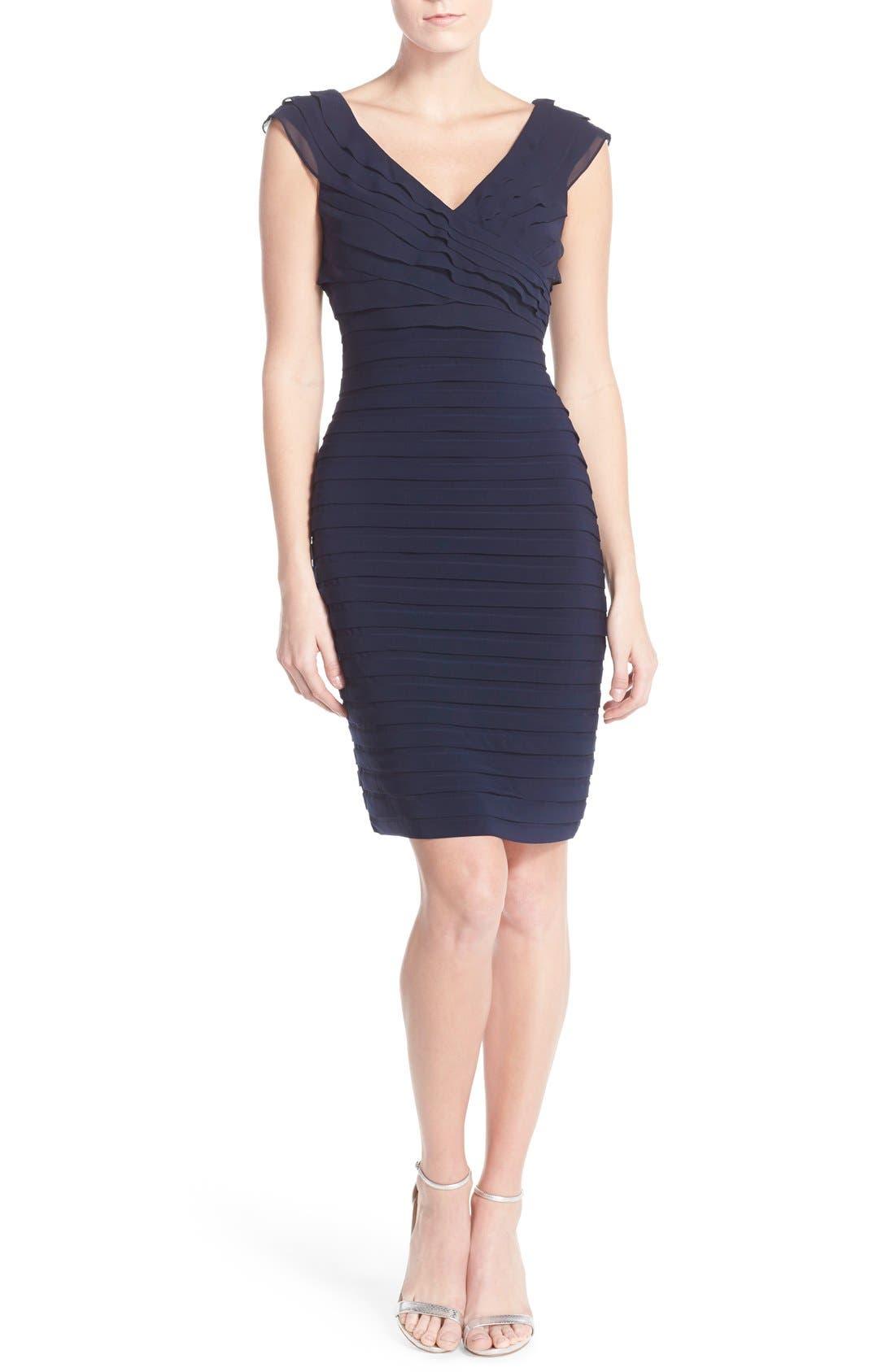Chiffon & Jersey Sheath Dress,                             Alternate thumbnail 10, color,                             408