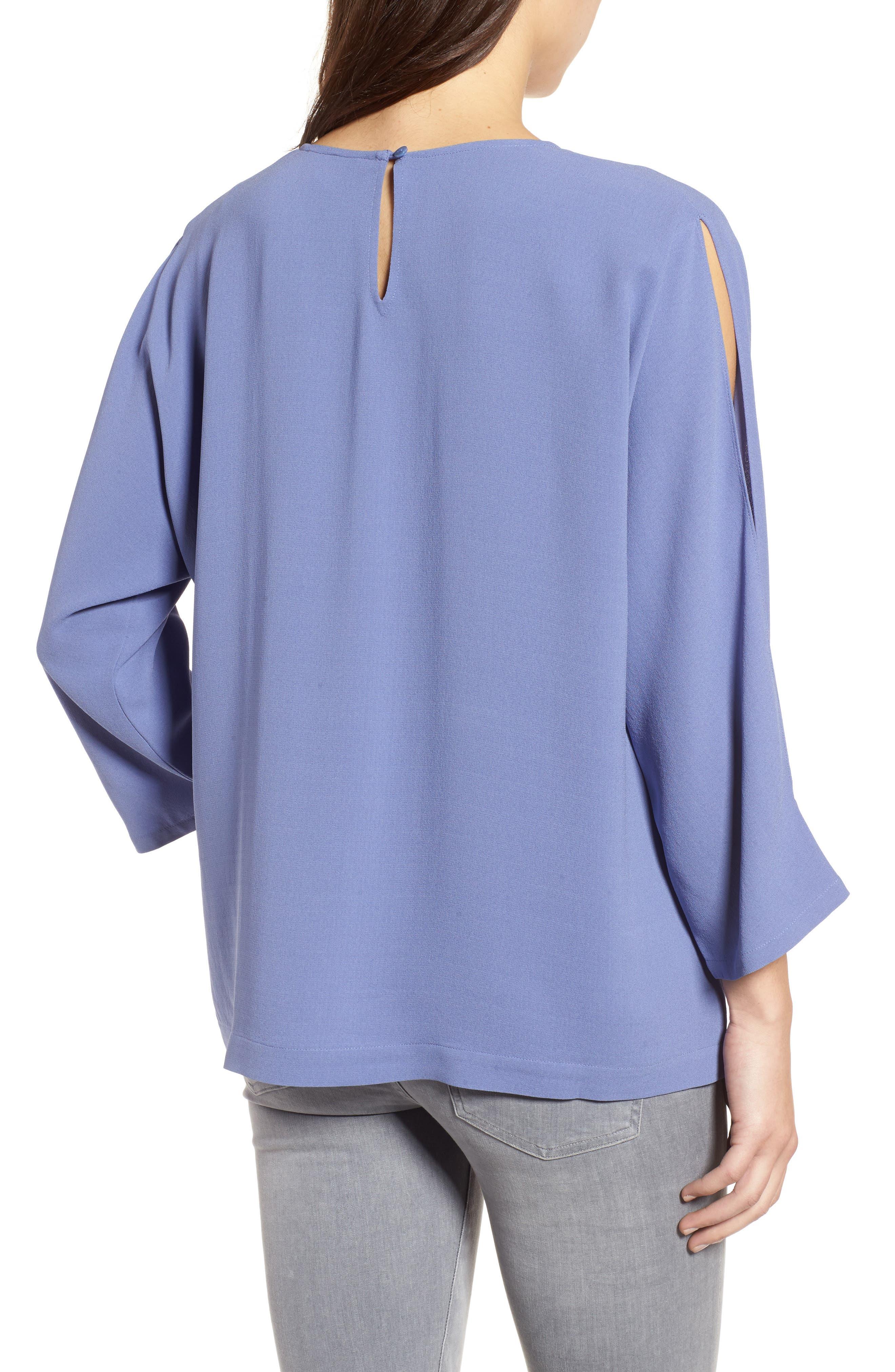 Slit Sleeve Silk Top,                             Alternate thumbnail 6, color,