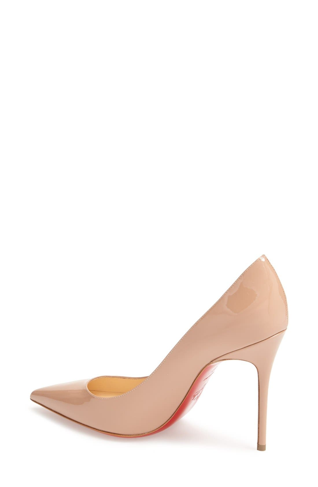 'Decollete' Pointy Toe Pump,                             Alternate thumbnail 3, color,                             NUDE