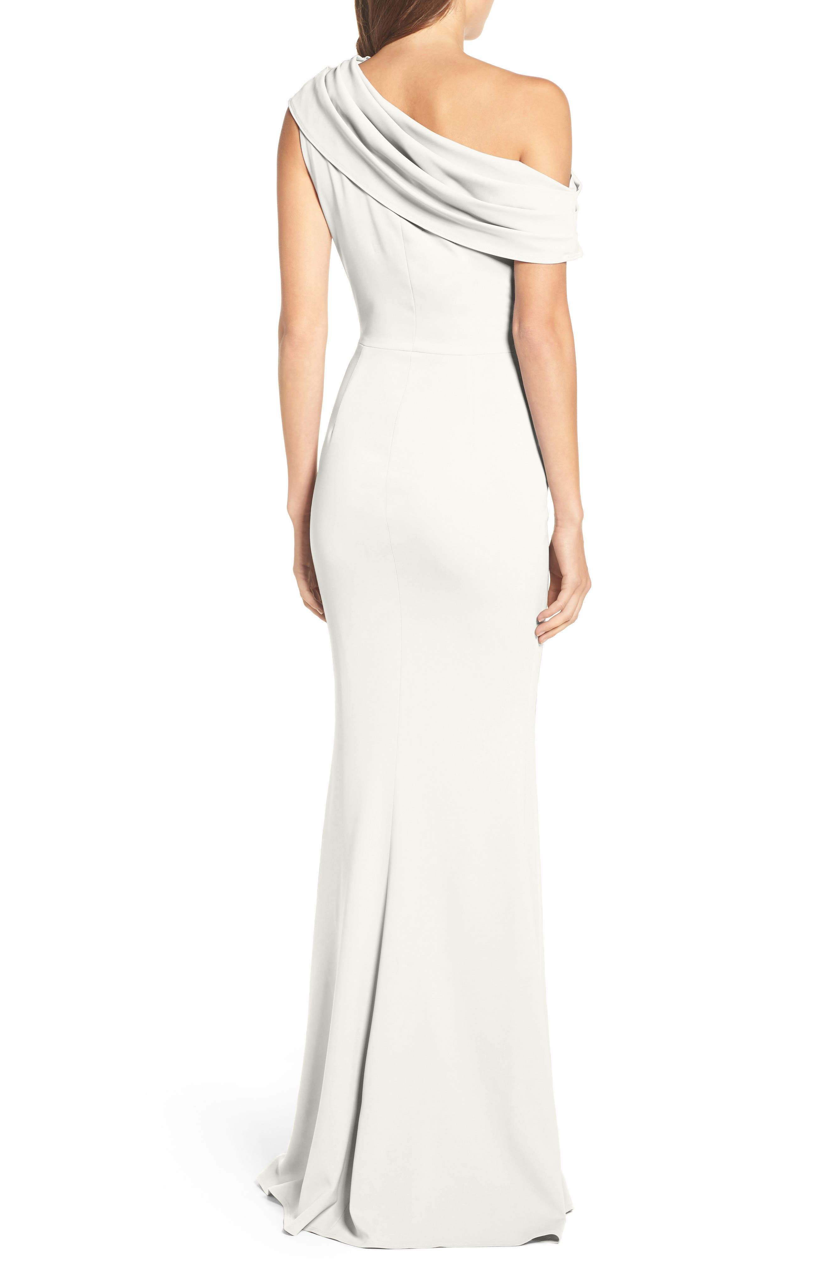 Layla Pleat One-Shoulder Crepe Gown,                             Alternate thumbnail 3, color,                             IVORY