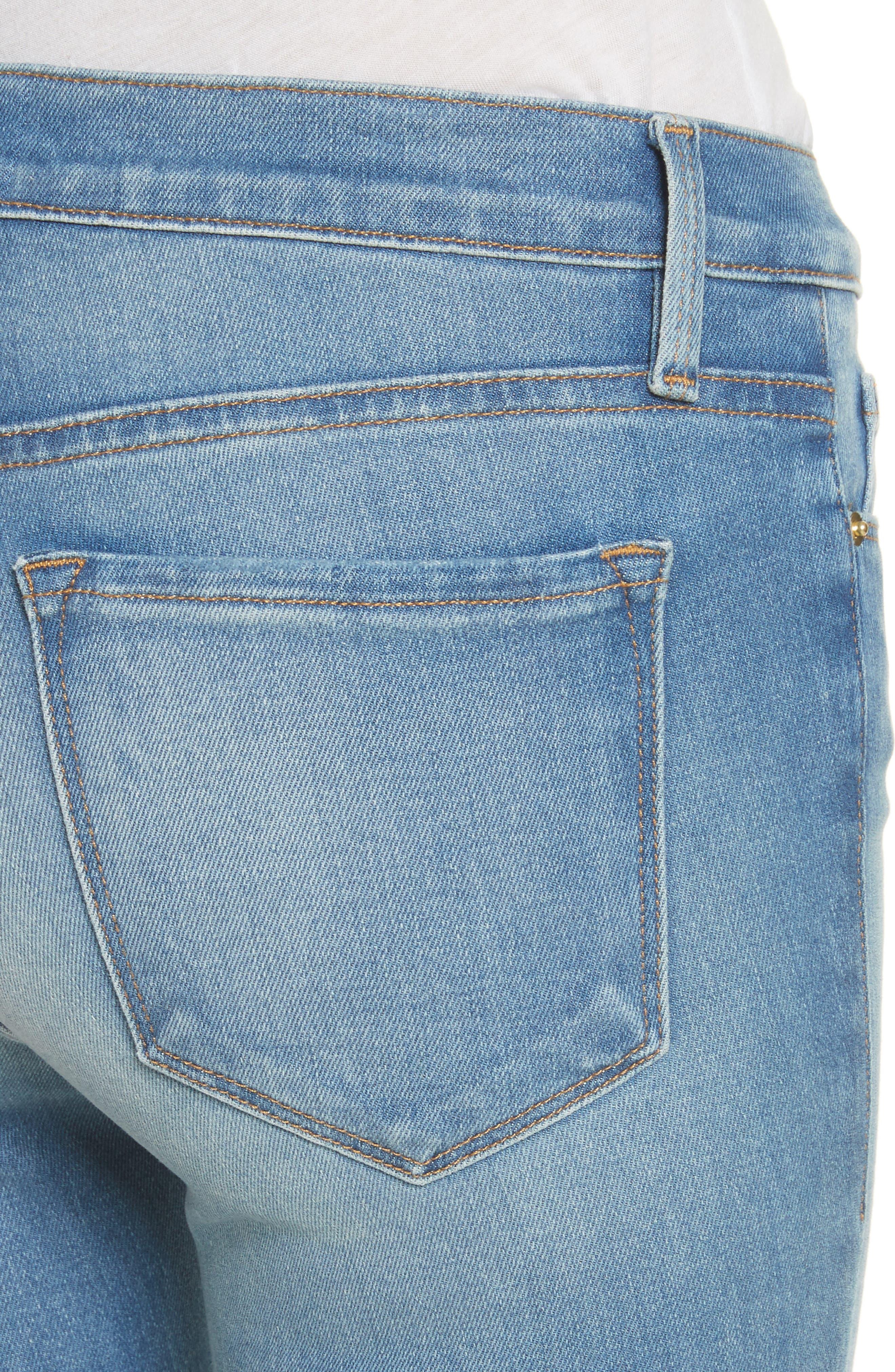 Le Skinny de Jeanne Raw Edge Crop Skinny Jeans,                             Alternate thumbnail 4, color,                             420
