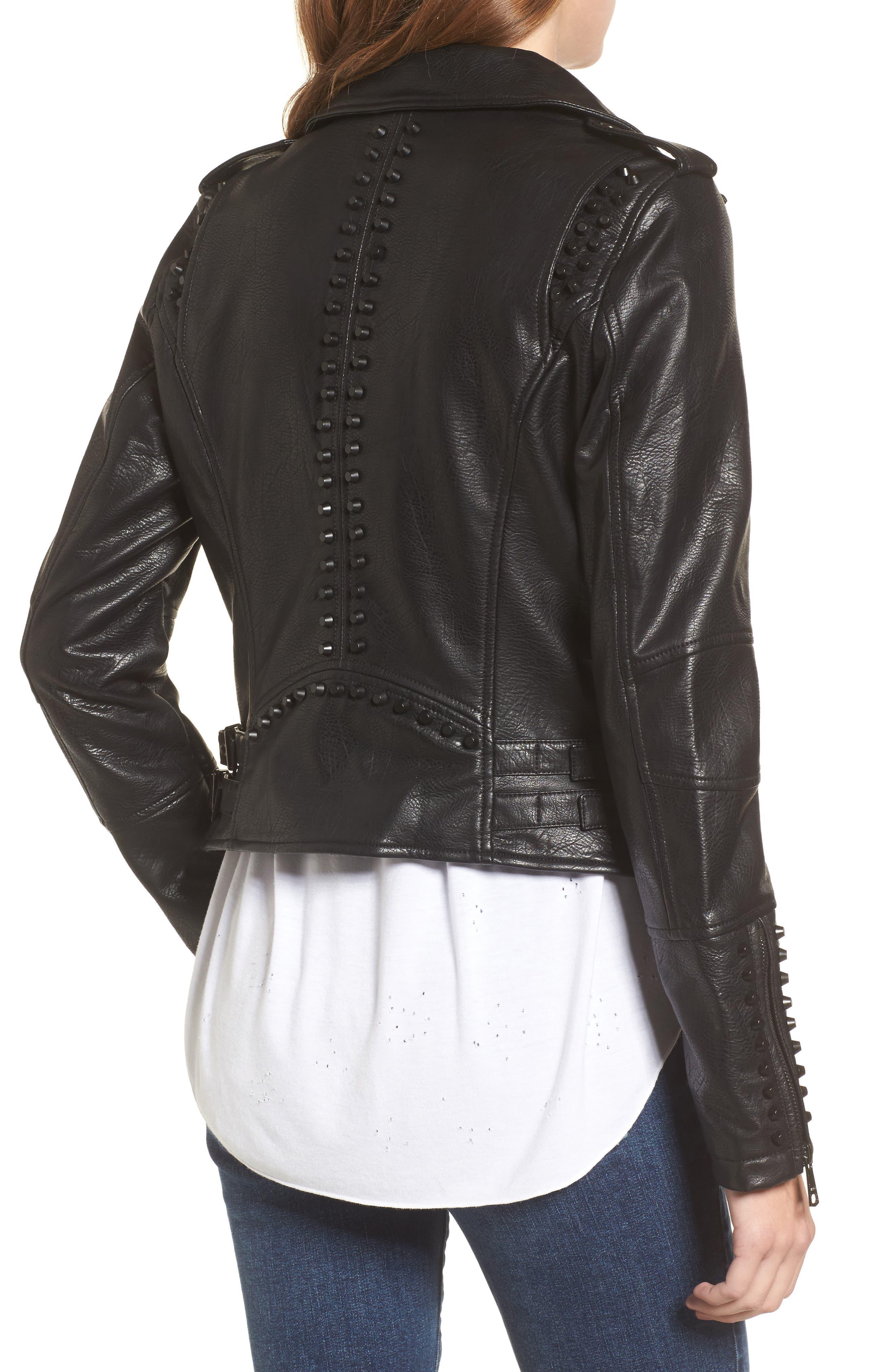 Studded Faux Leather Moto Jacket,                             Alternate thumbnail 2, color,                             001