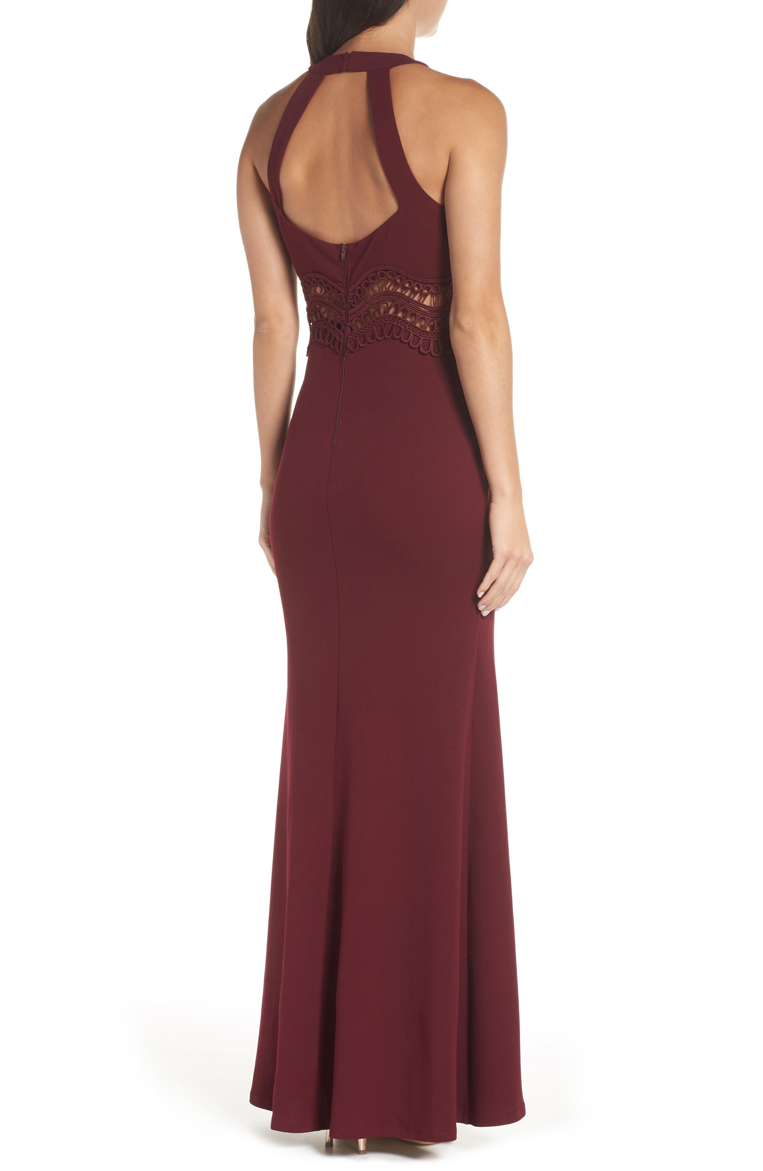 Front Slit Scuba Crepe Gown,                             Alternate thumbnail 2, color,                             MALBEC