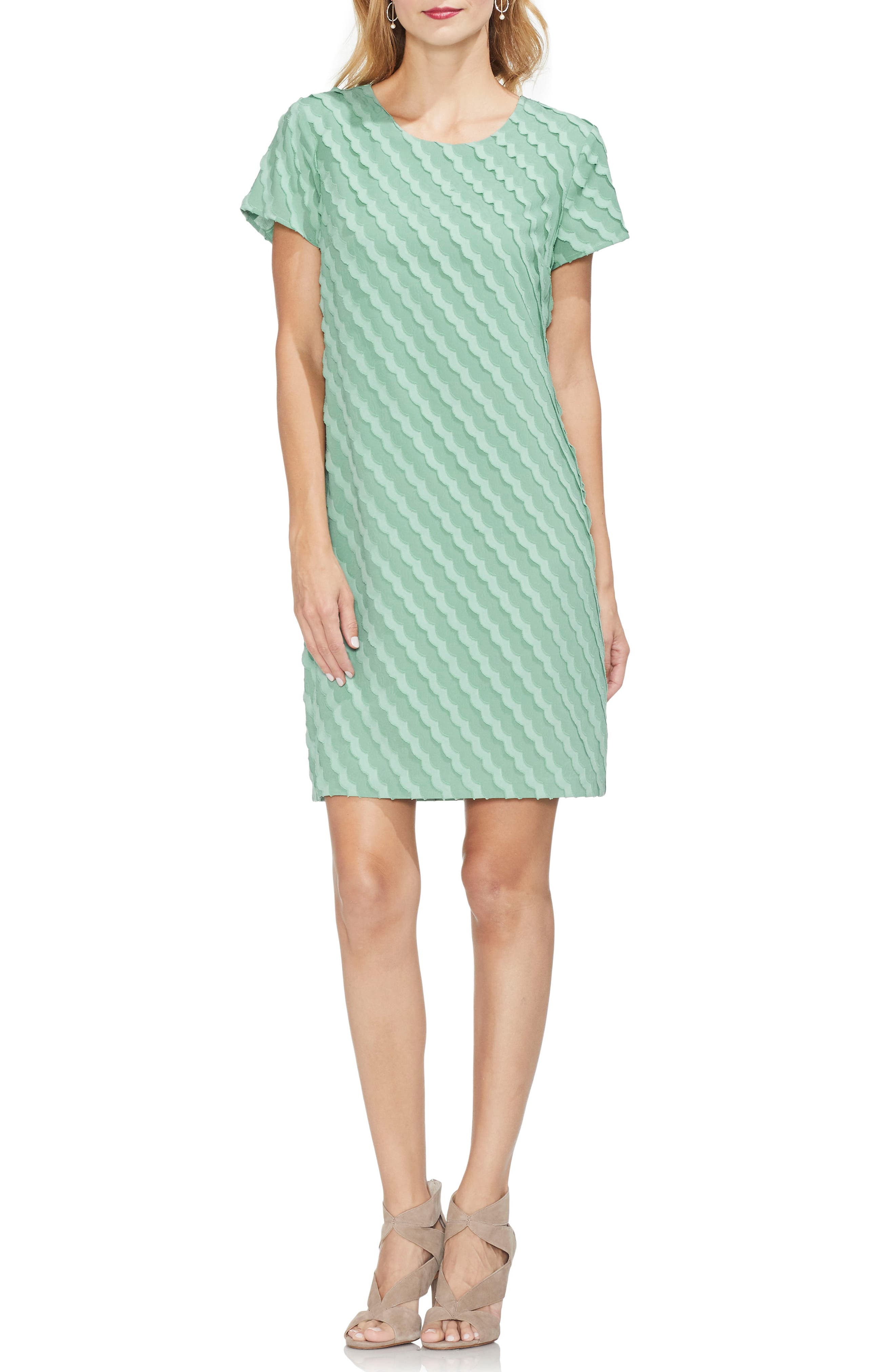 Vince Camuto Clipped Scallop Stripe Shift Dress, Green