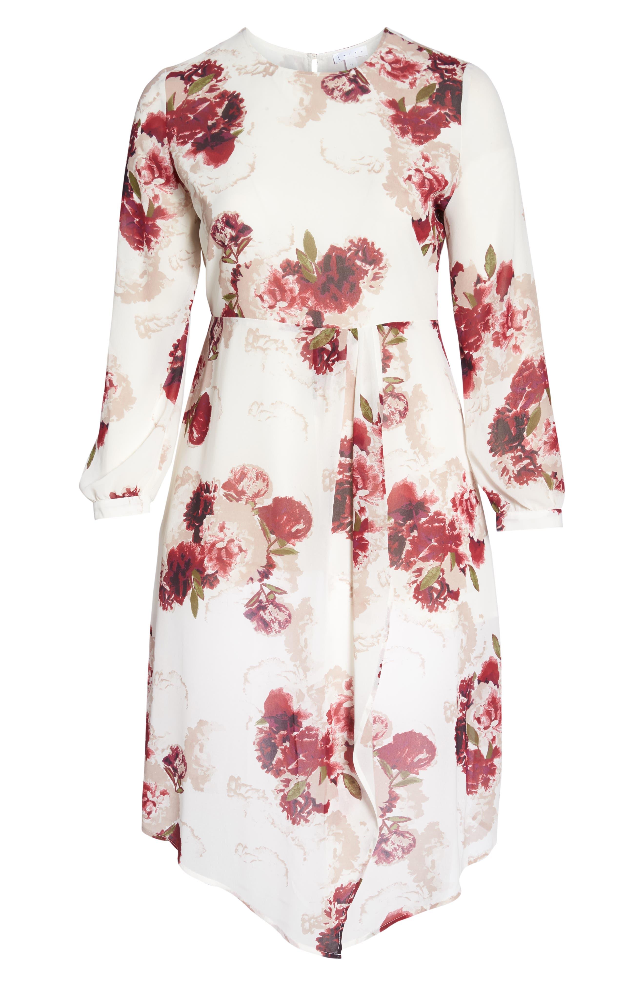 Floral Drape Dress,                             Alternate thumbnail 7, color,                             900
