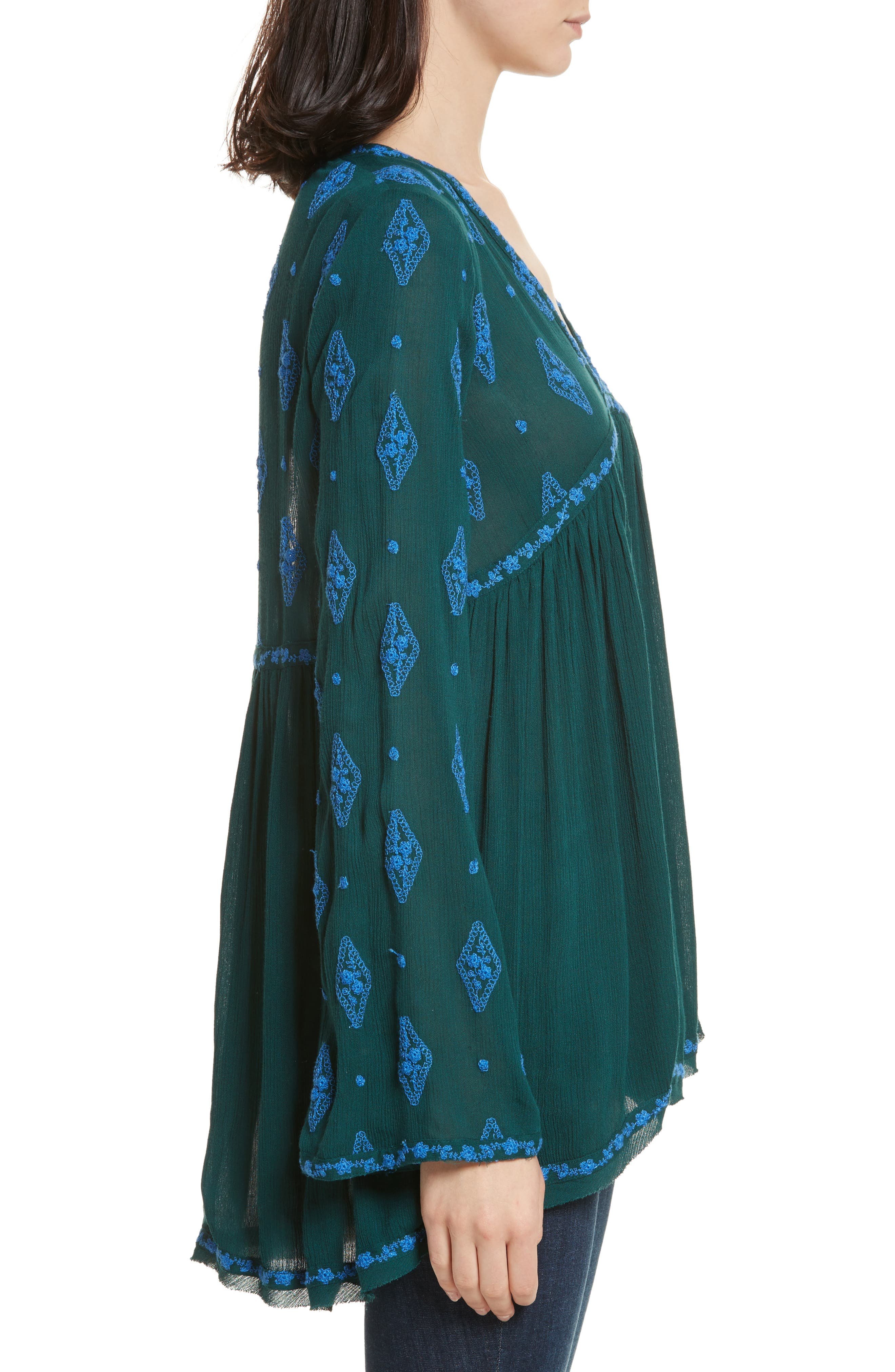Embroidered Bell Sleeve Top,                             Alternate thumbnail 15, color,