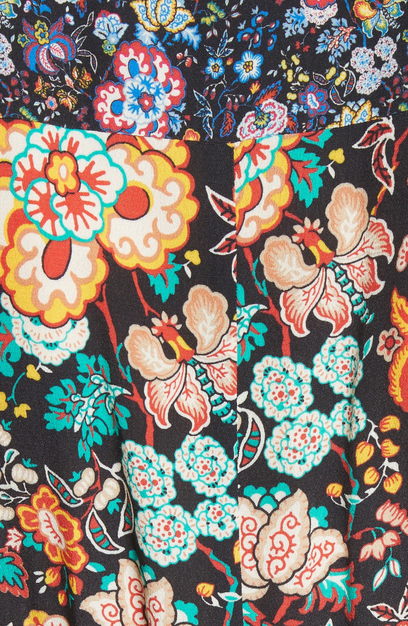 Mixed Floral Wrap Dress,                             Alternate thumbnail 5, color,