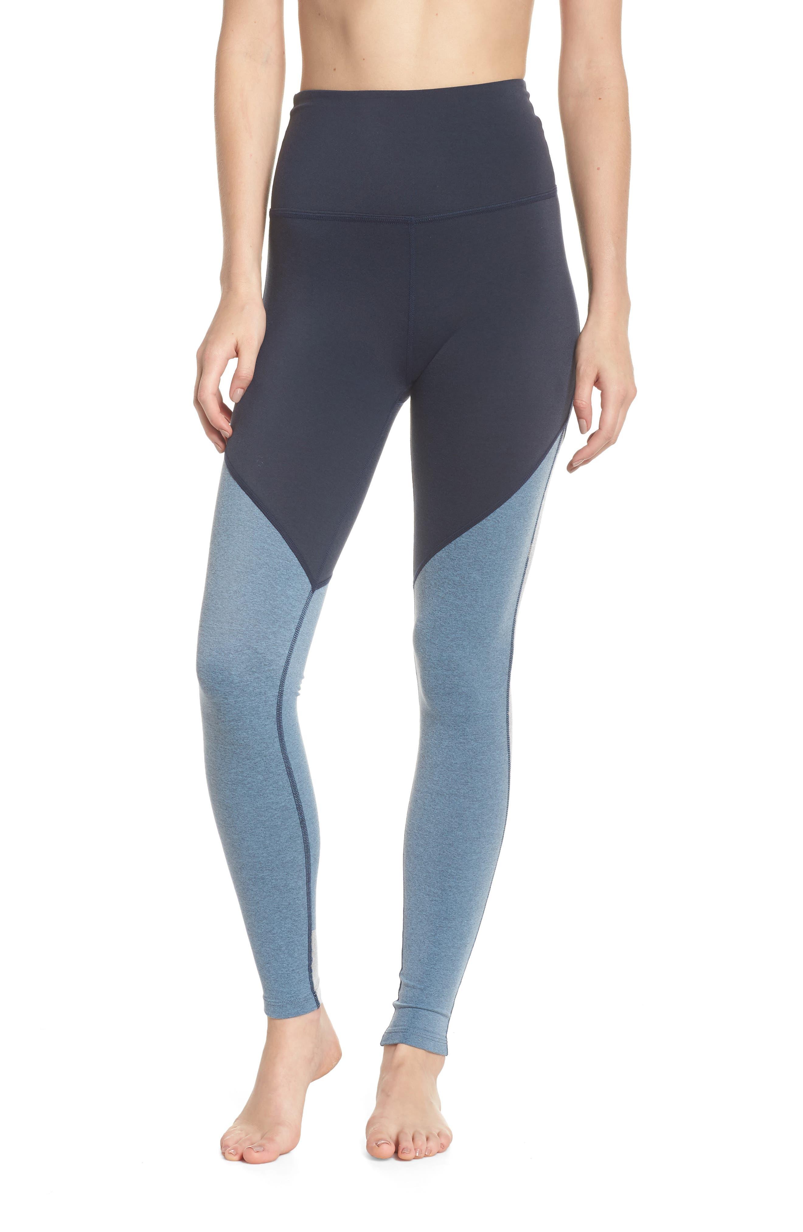 Angled High Waist Leggings,                         Main,                         color, NOCTURNAL NAVY/ LIGHT BLUE