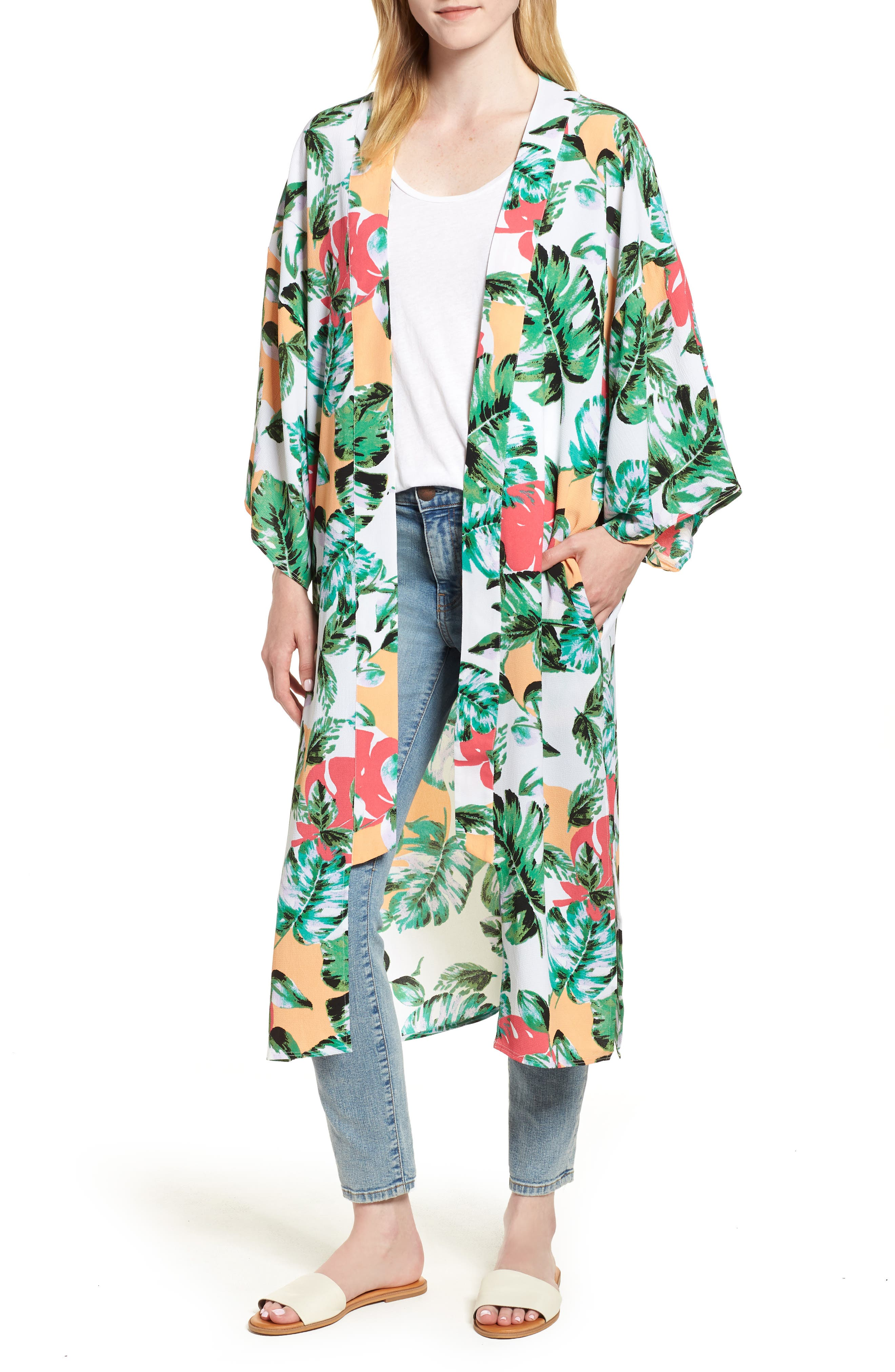 Vacation Print Kimono,                         Main,                         color, CORAL PALMS PLEASE