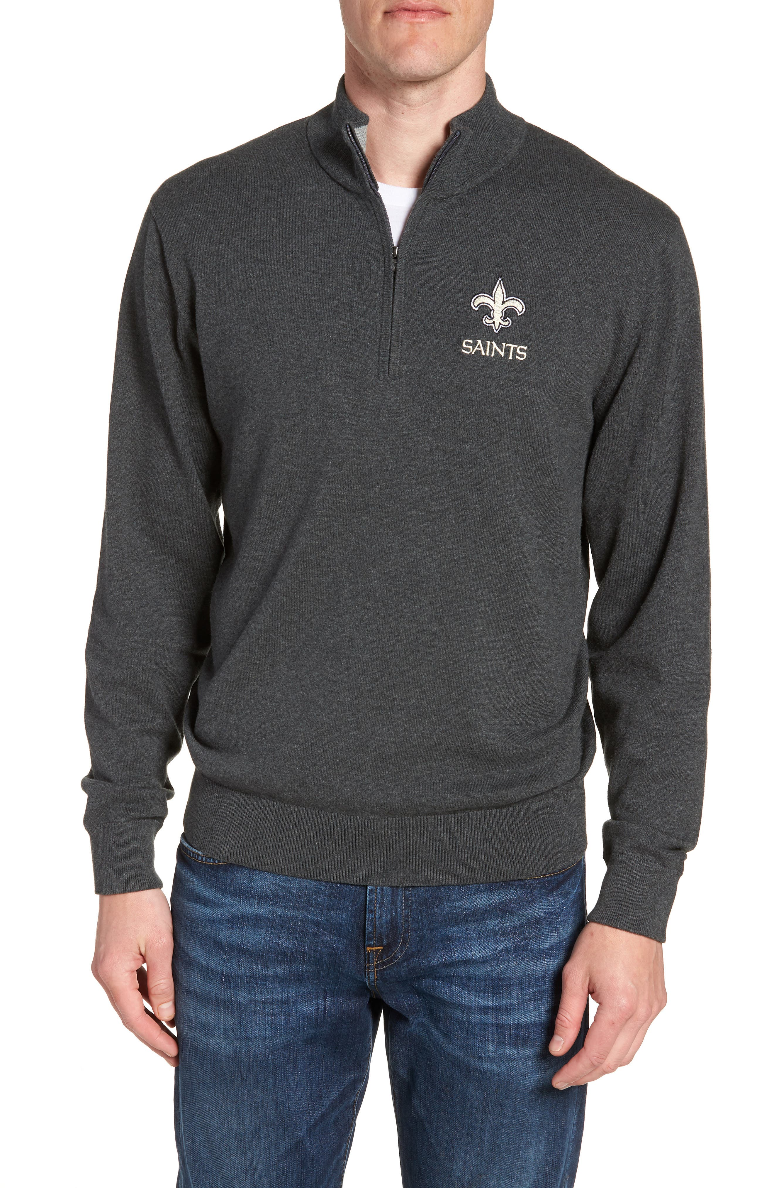 New Orleans Saints - Lakemont Regular Fit Quarter Zip Sweater,                             Main thumbnail 1, color,                             CHARCOAL HEATHER