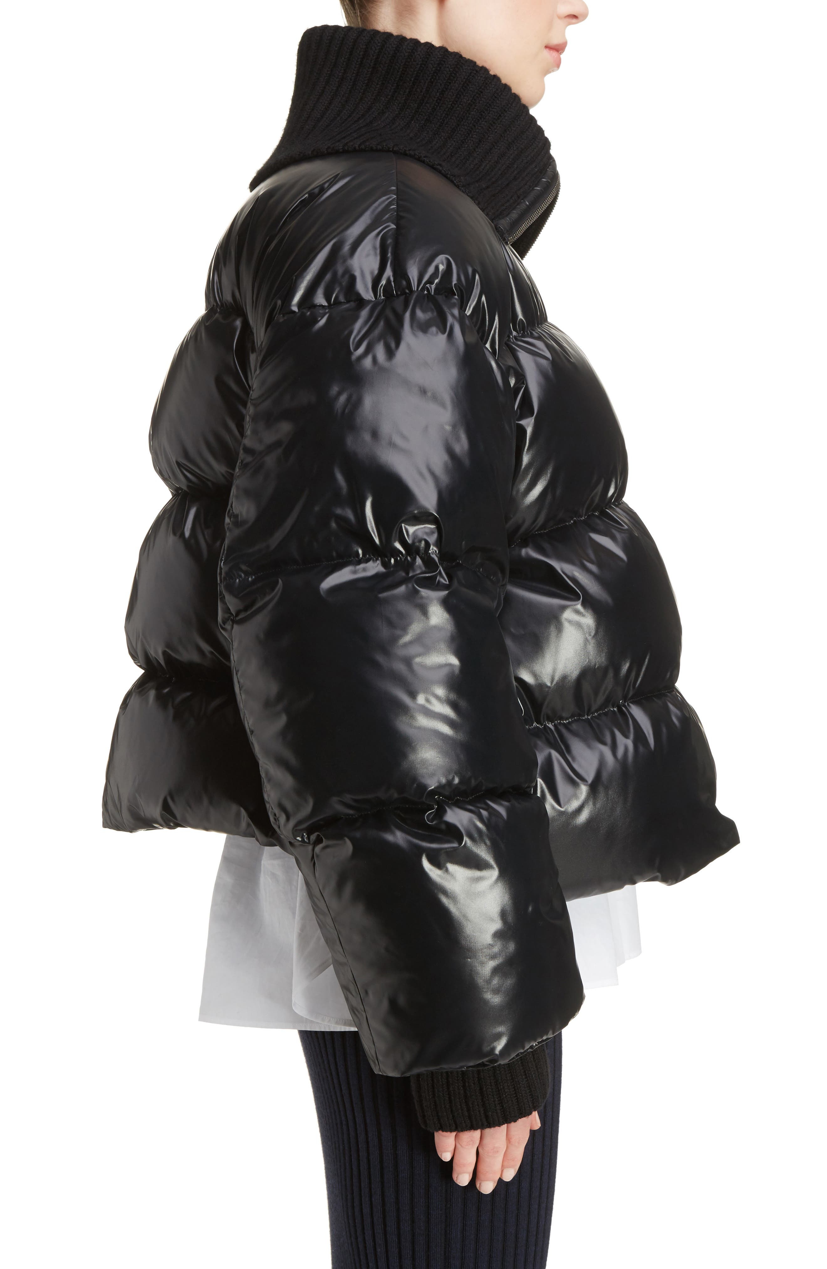 Crop Down Puffer Jacket,                             Alternate thumbnail 3, color,                             001