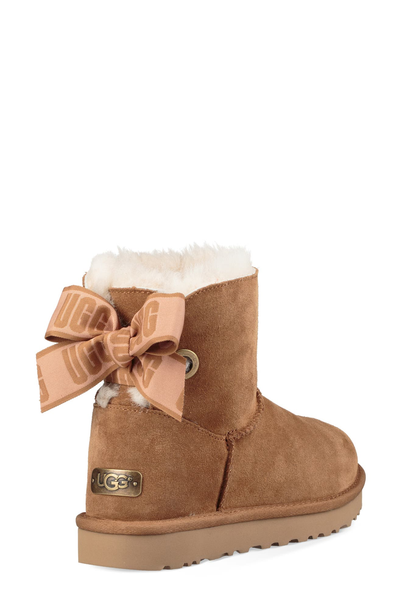 Customizable Bailey Bow Mini Genuine Shearling Bootie,                             Alternate thumbnail 6, color,                             CHESTNUT SUEDE