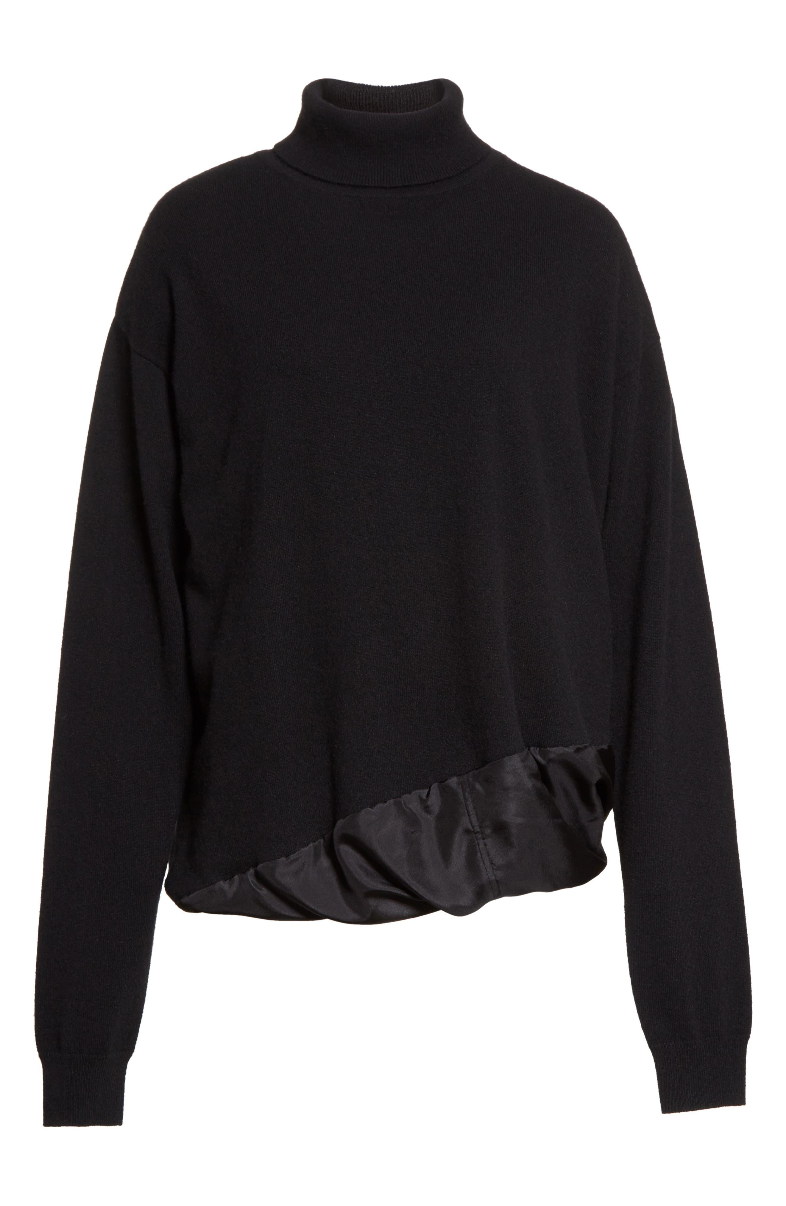 Silk Hem Cashmere Turtleneck Sweater,                             Alternate thumbnail 6, color,                             001
