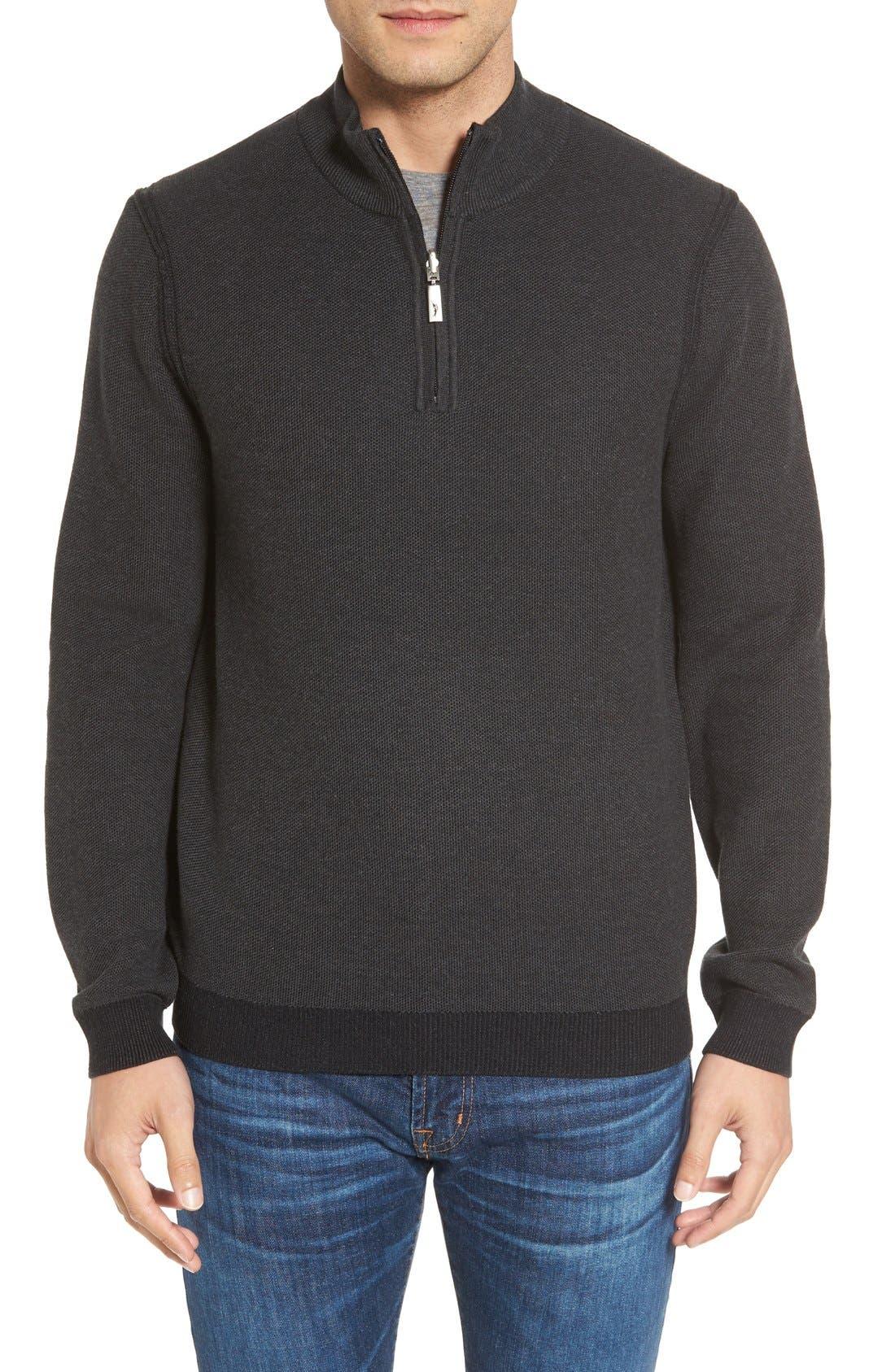 Make Mine a Double Reversible Quarter Zip Sweater,                             Main thumbnail 1, color,                             001