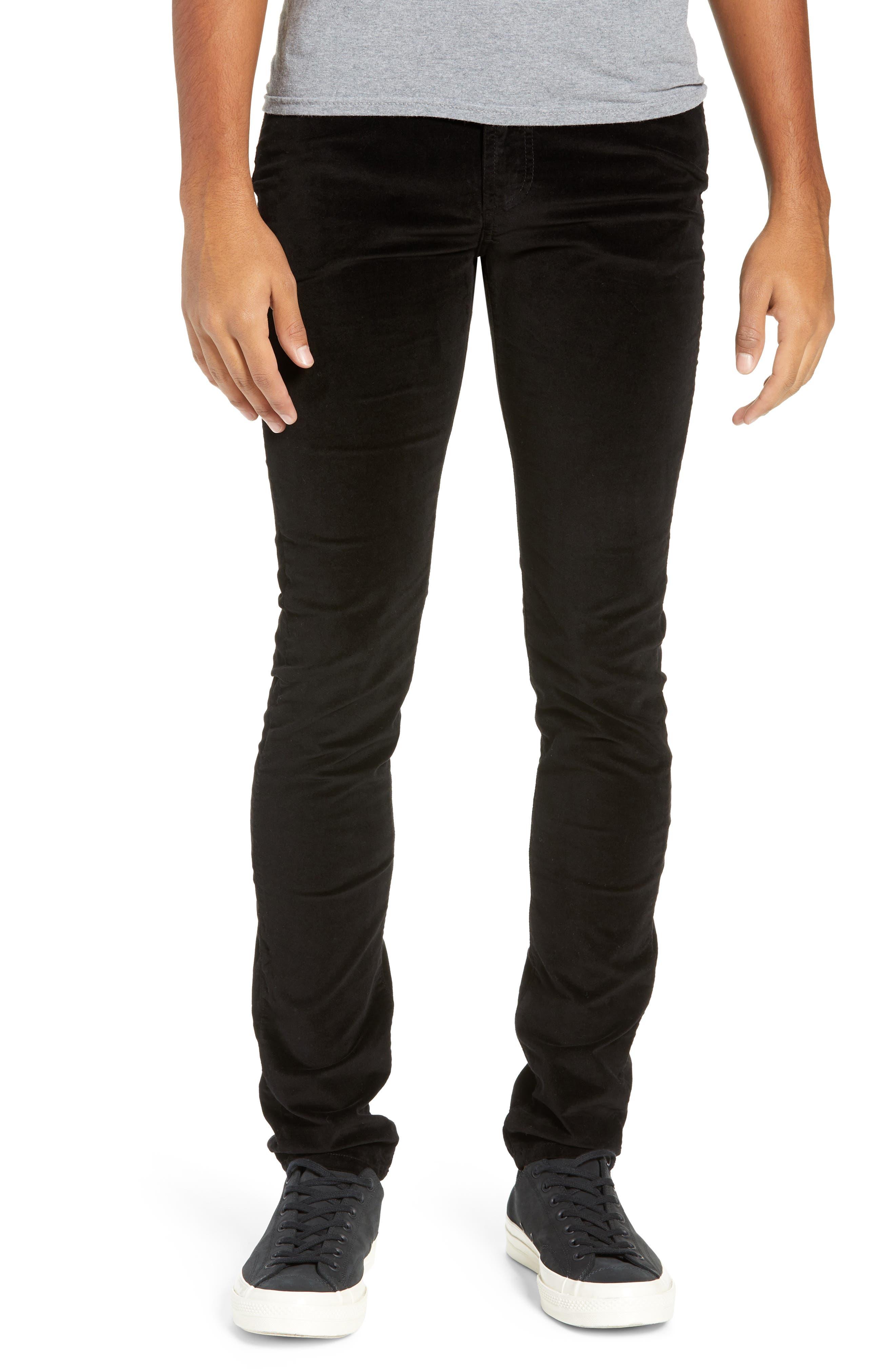 MONFRERE Greyson Velvet Skinny Fit Jeans in Velvet Noir