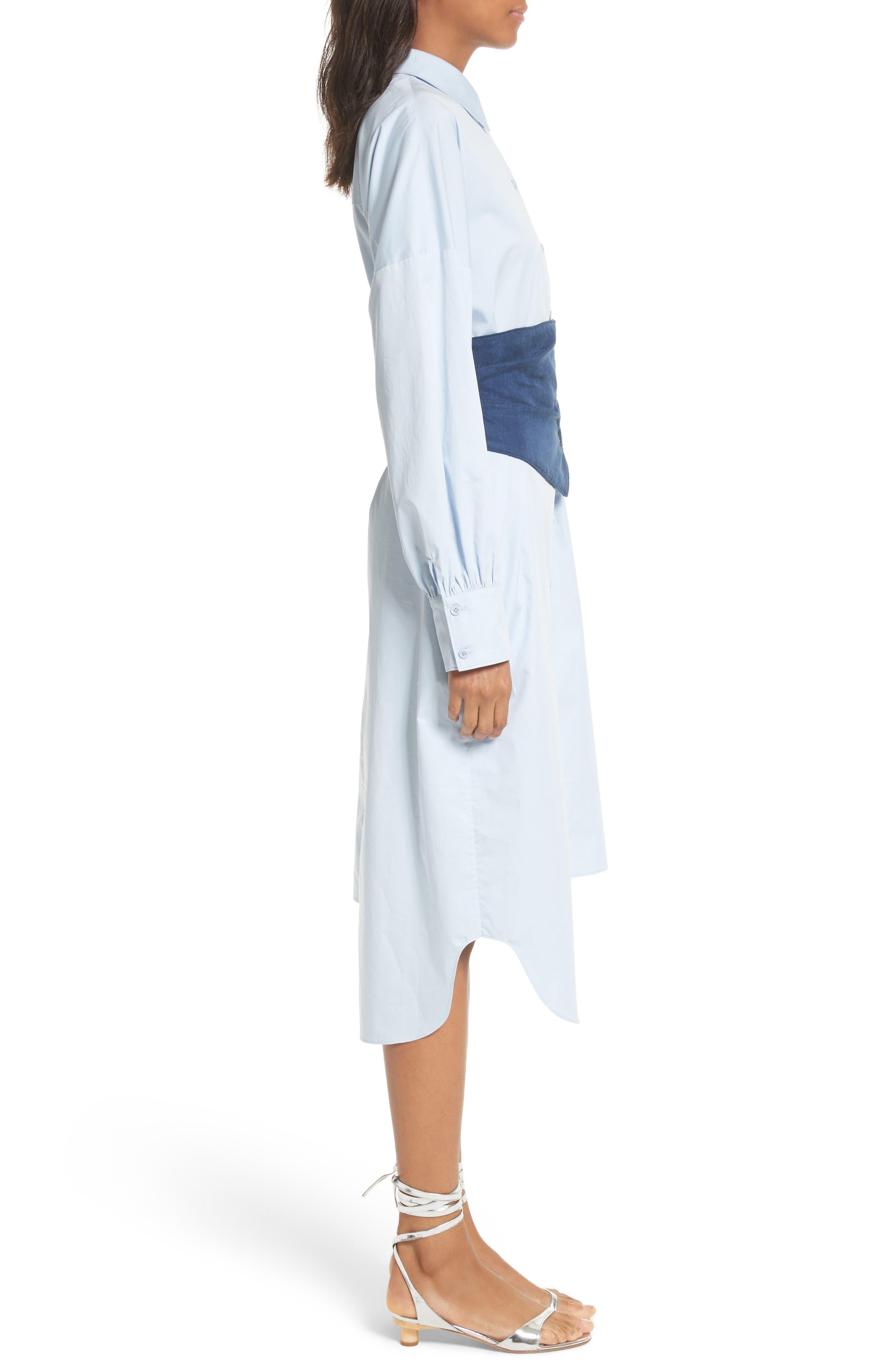 Corset Shirtdress,                             Alternate thumbnail 3, color,                             412