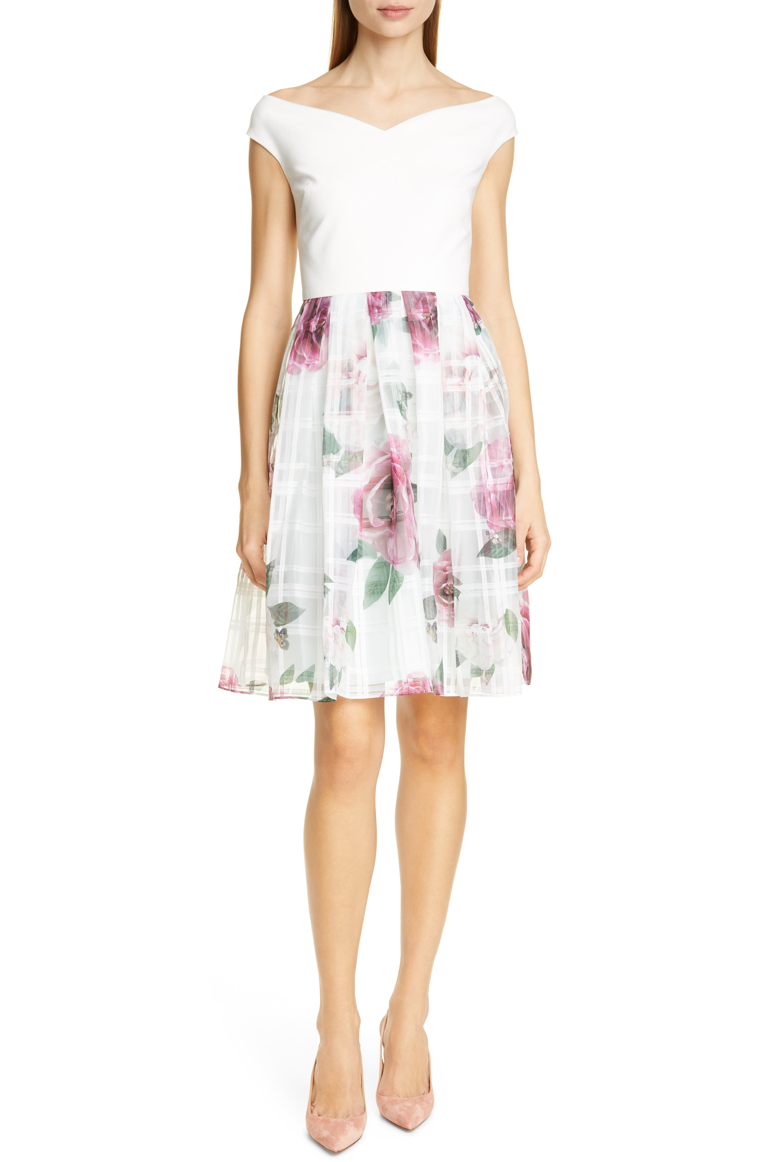 Ted Baker London Licious Magnificent Fit & Flare Dress, Green
