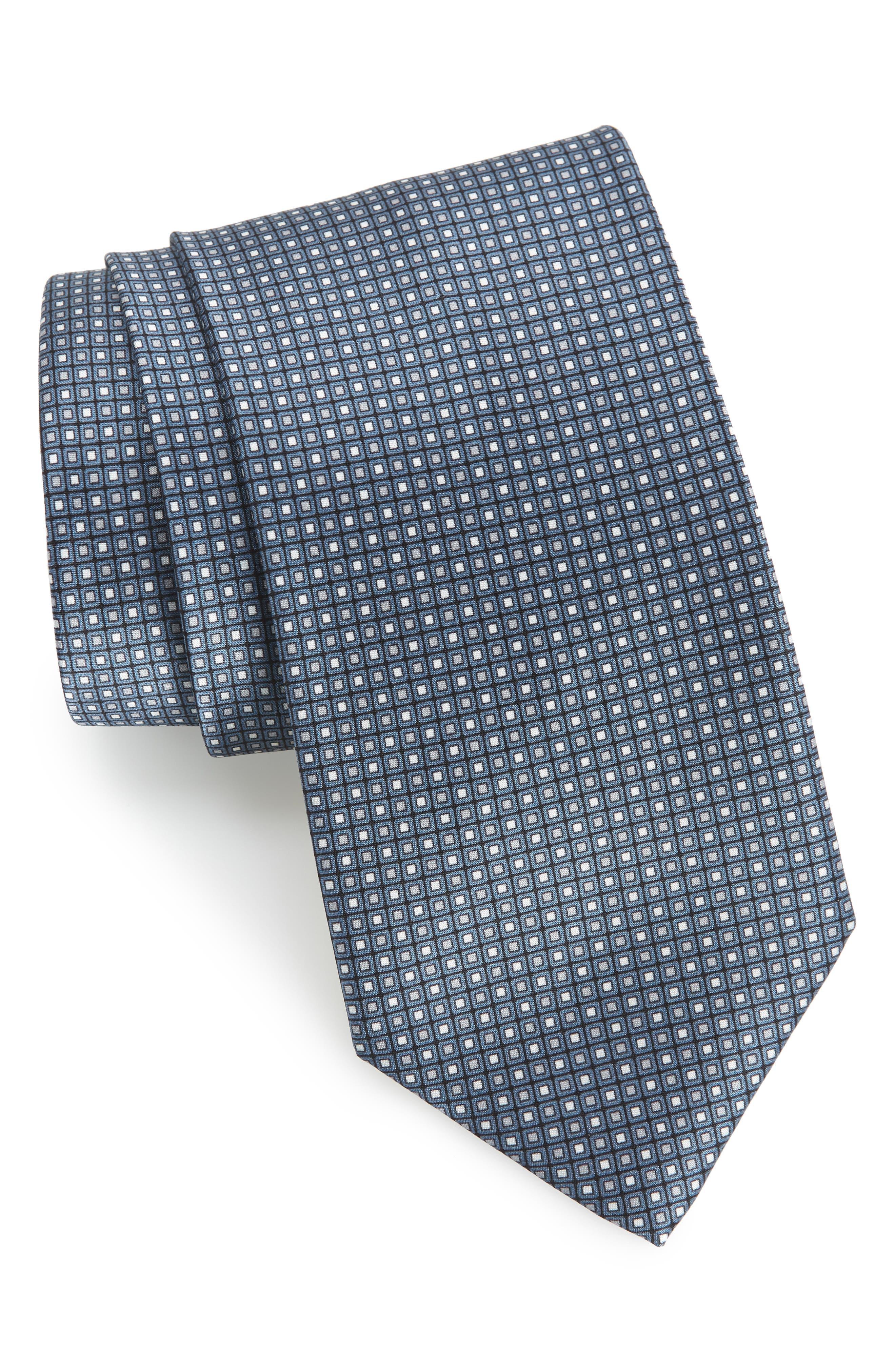 Dot Silk Tie,                         Main,                         color, BLUE/ BLACK