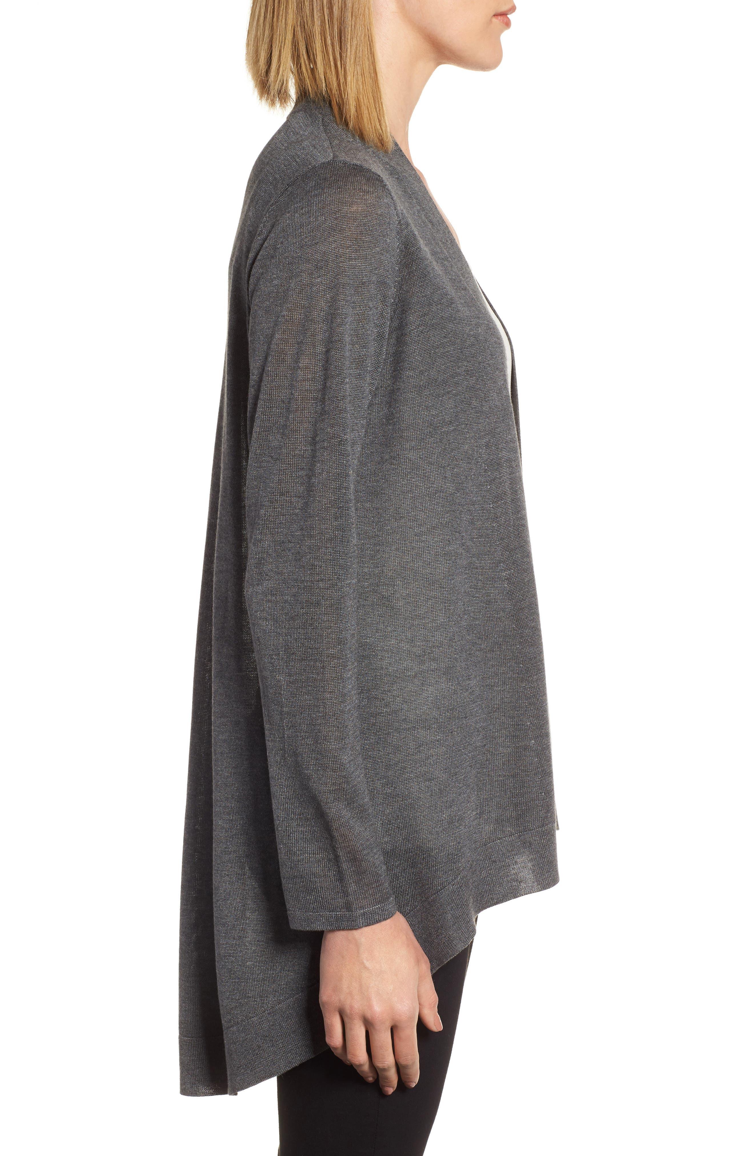 Tencel<sup>®</sup> Lyocell & Merino Wool Shaped Cardigan,                             Alternate thumbnail 3, color,                             030