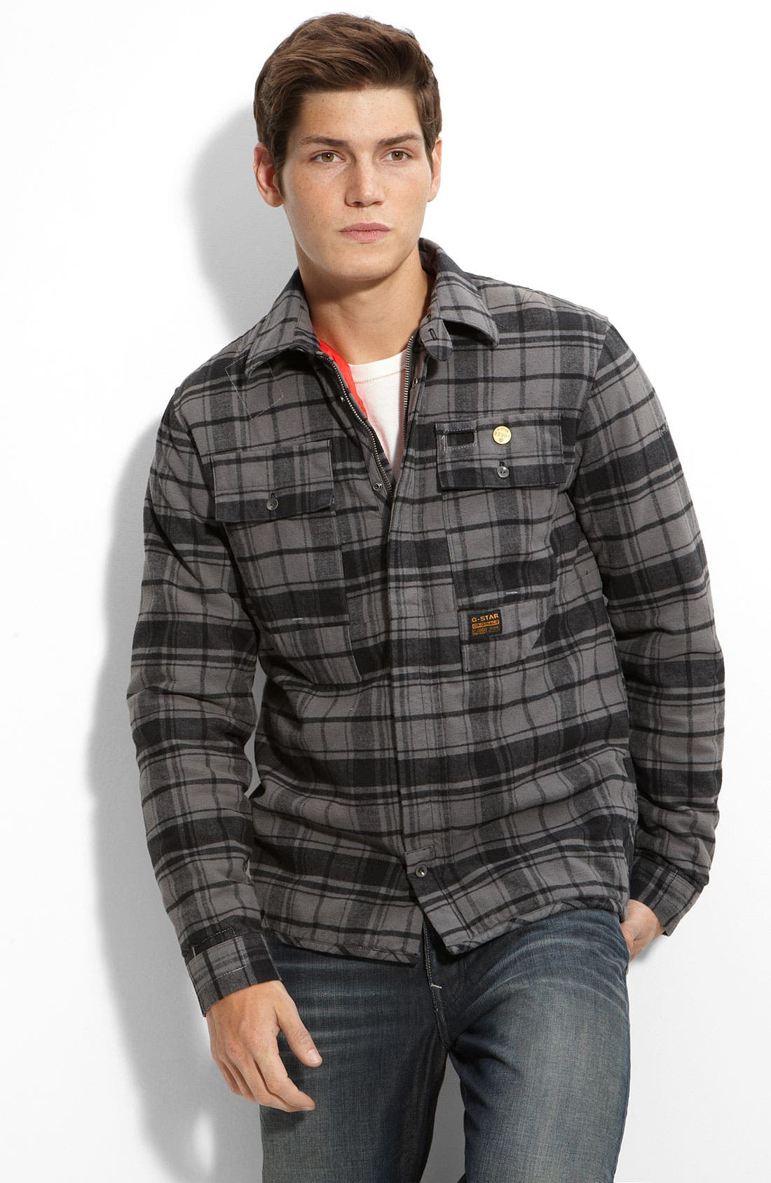 'Flight Deck' Quilted Flannel Shirt Jacket, Main, color, 020