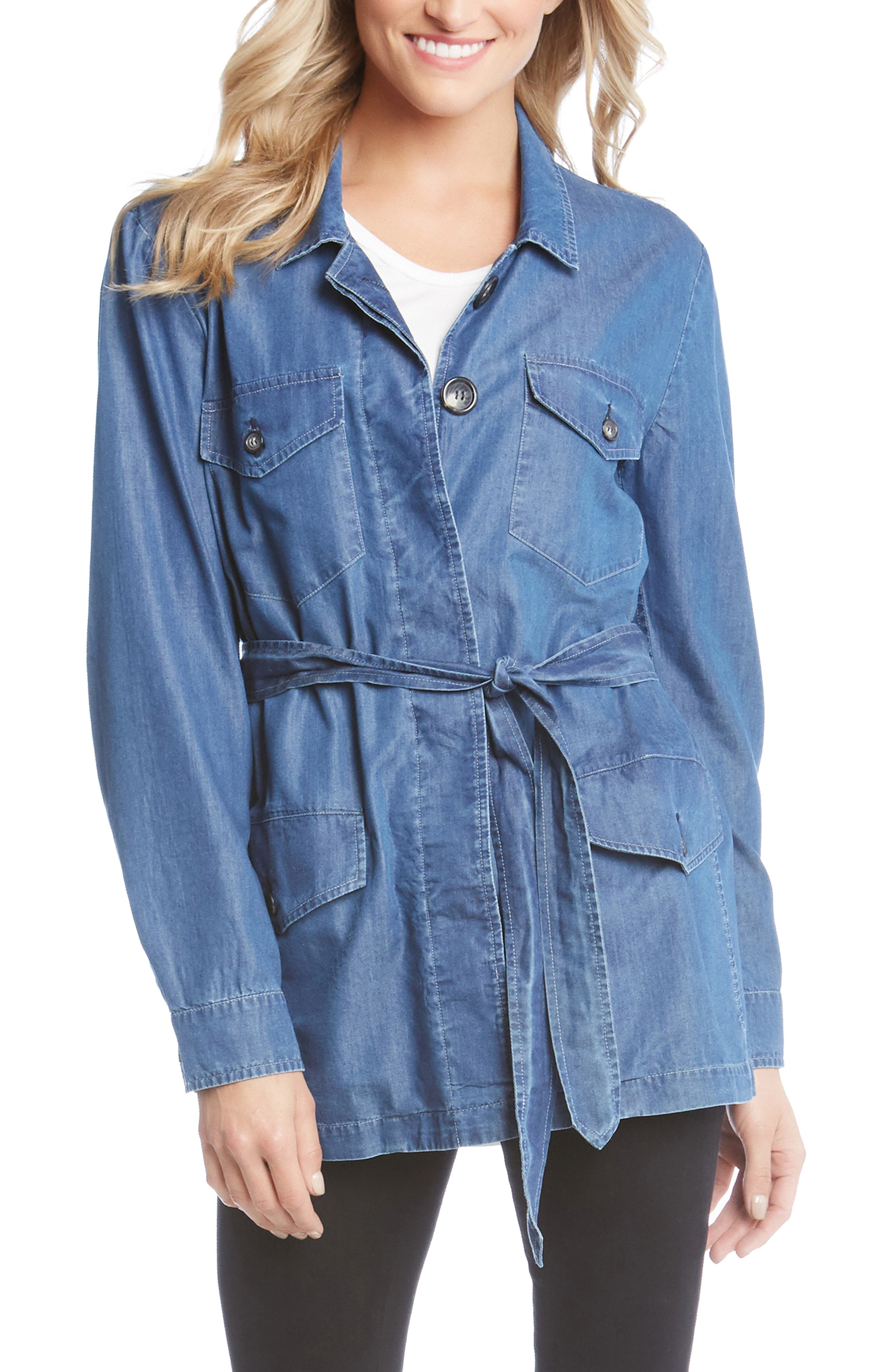 Belted Chambray Cargo Jacket,                             Main thumbnail 1, color,                             455