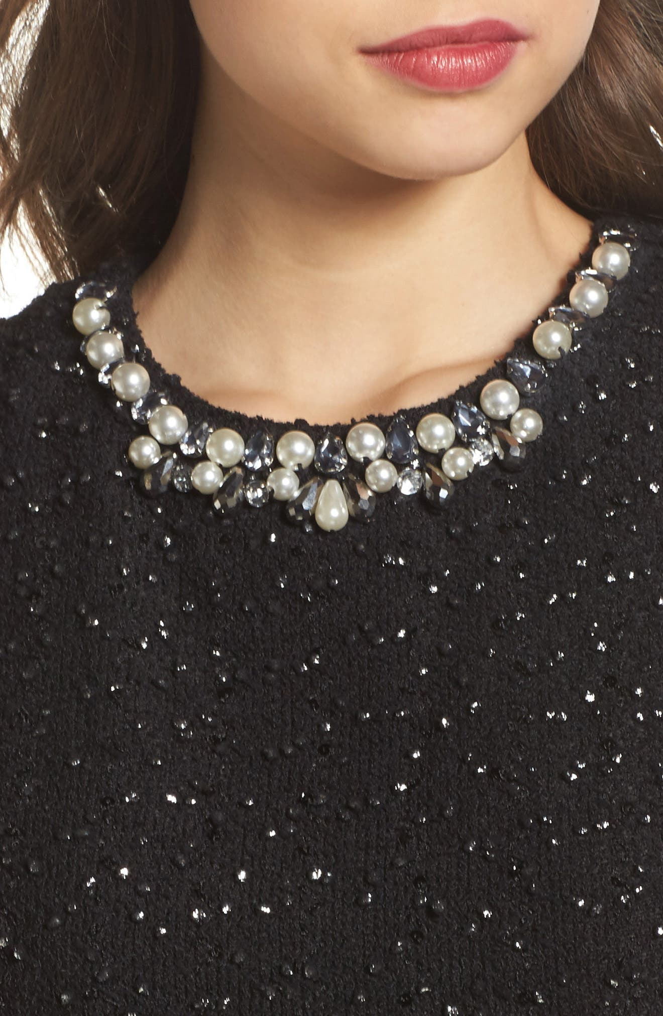Jewel Fit & Flare Dress,                             Alternate thumbnail 4, color,                             001