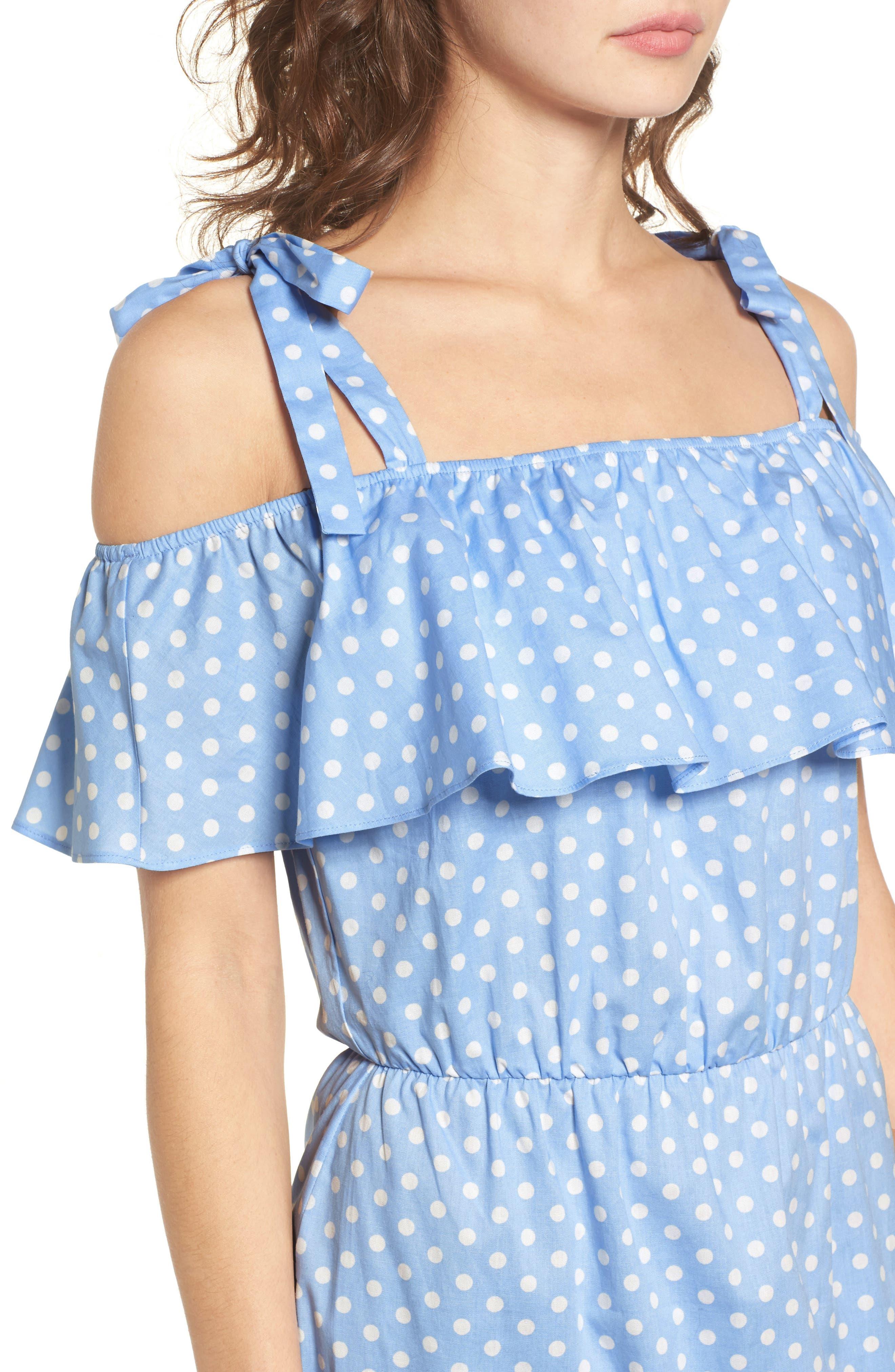 Ruffle Cold Shoulder Dress,                             Alternate thumbnail 4, color,                             463