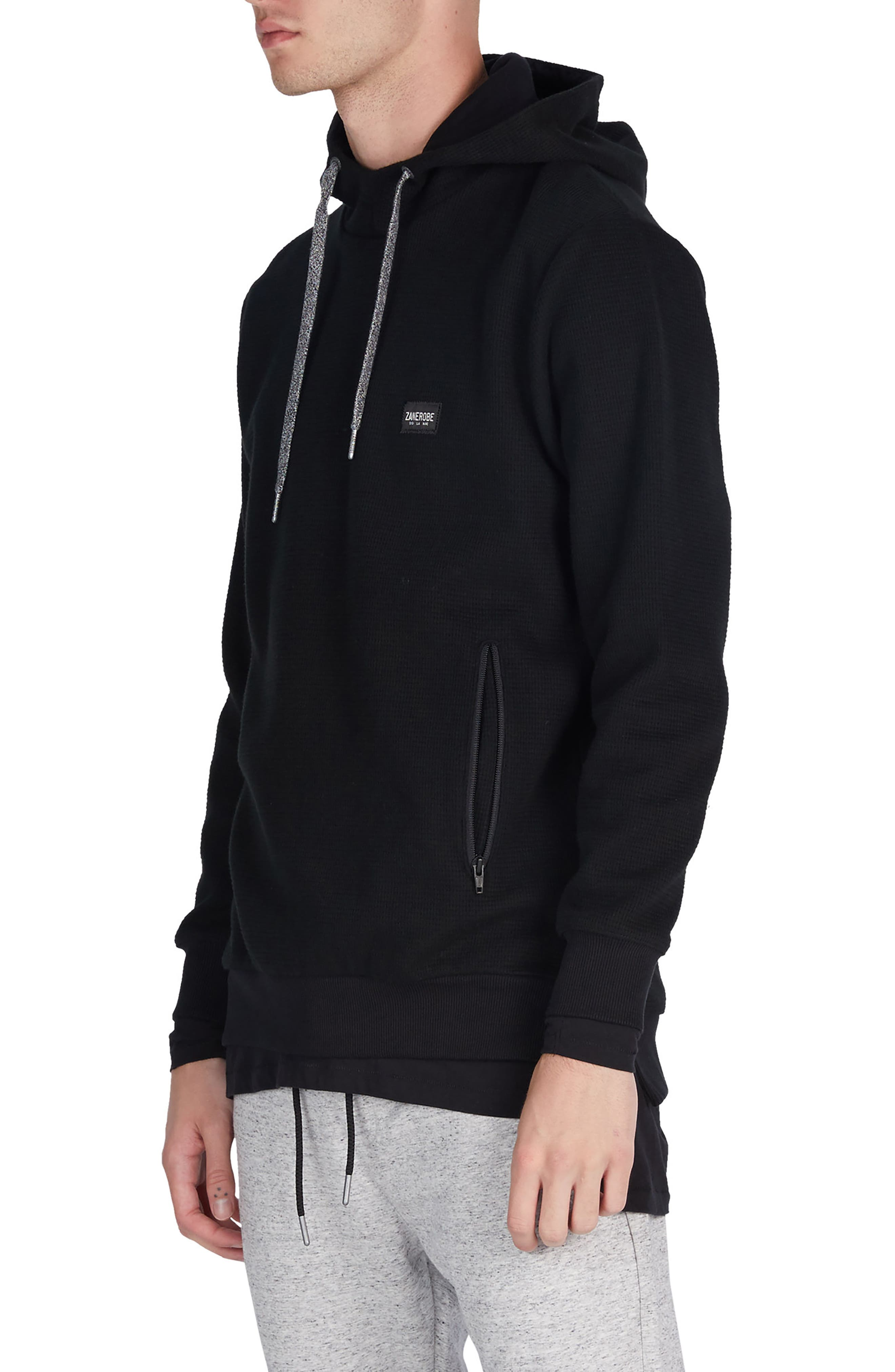 Waffle Knit Hoodie,                             Alternate thumbnail 4, color,                             001
