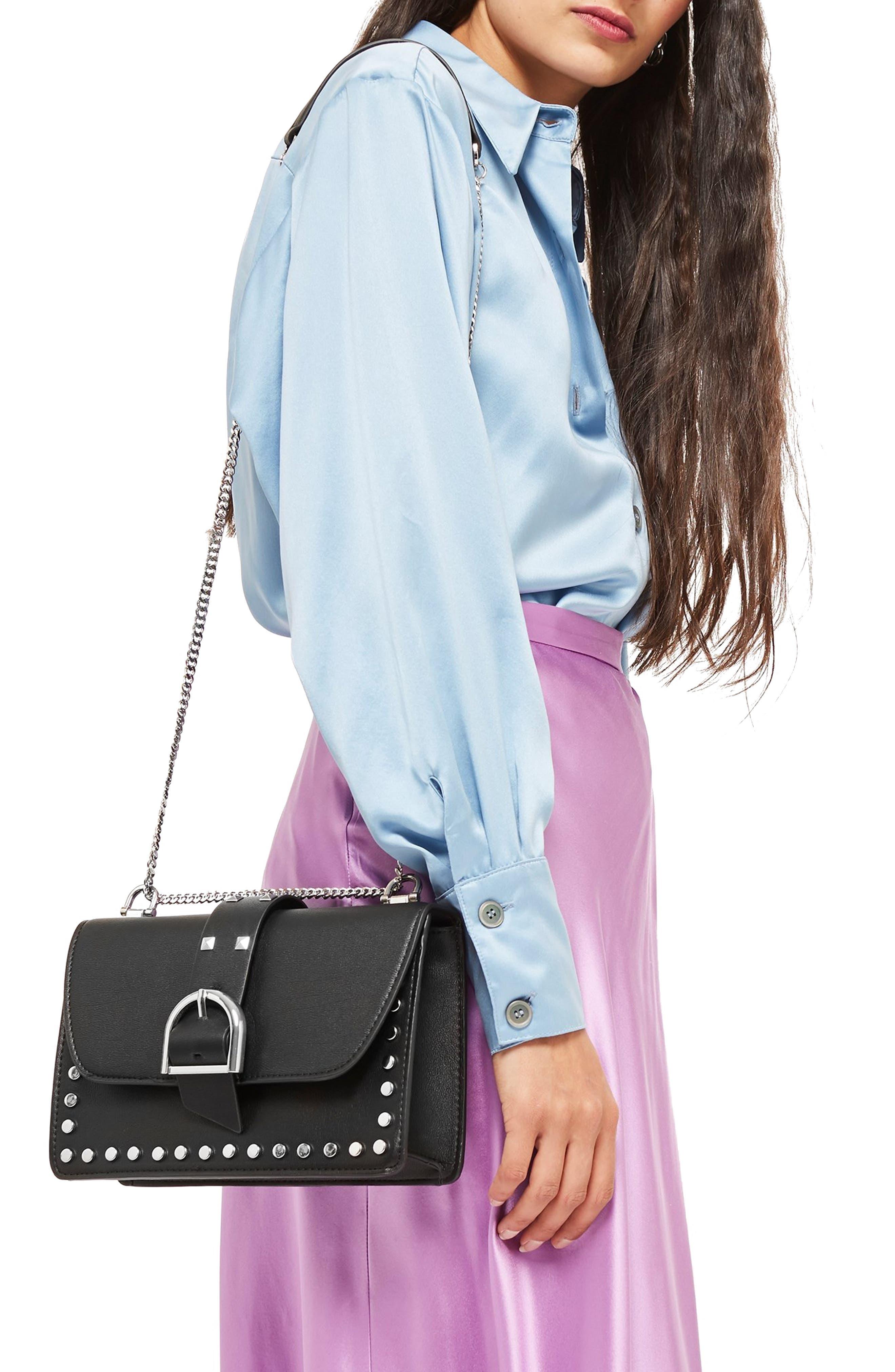 Buckle Faux Leather Crossbody Bag,                             Alternate thumbnail 2, color,                             BLACK